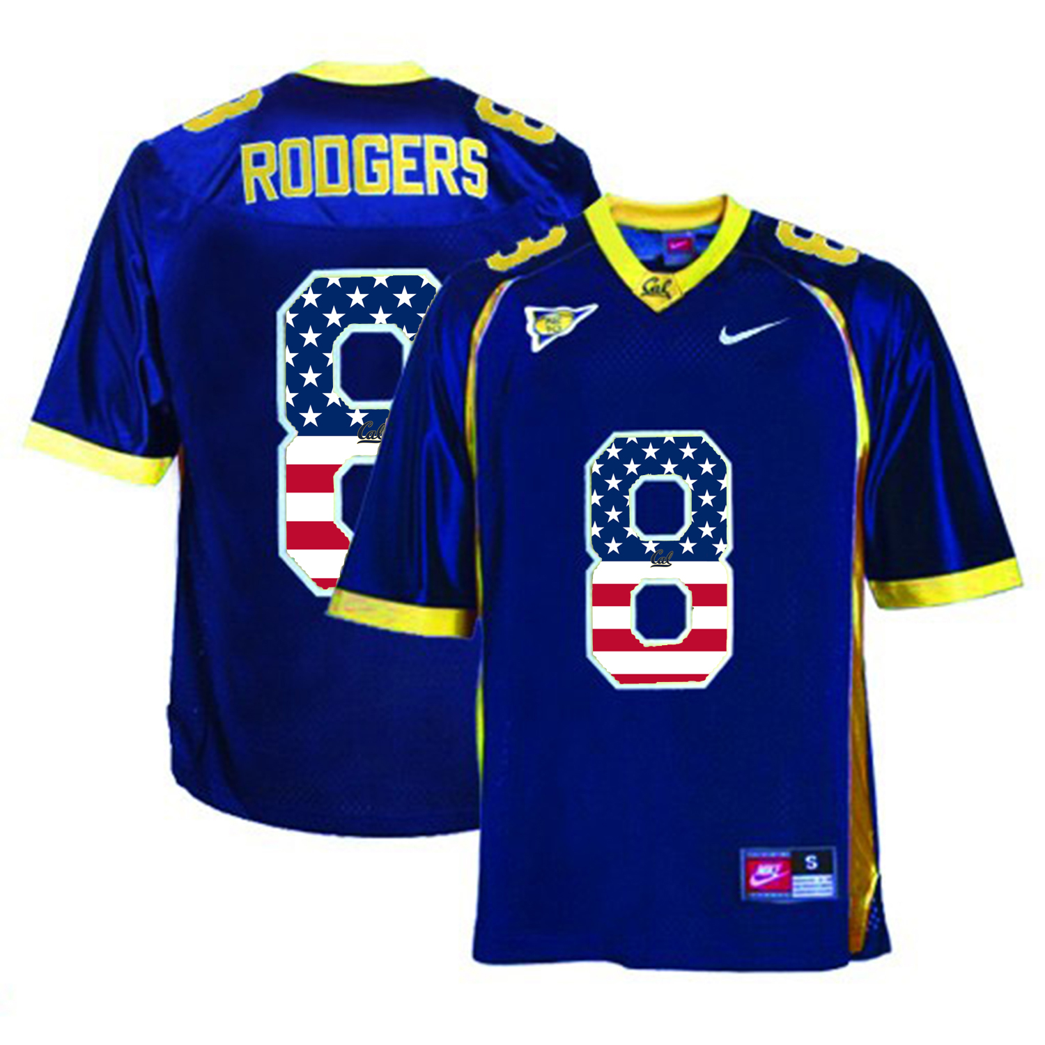 2016 US Flag Fashion Men California Golden Bears Aaron Rodgers 8 College Football Jersey Navy Blue