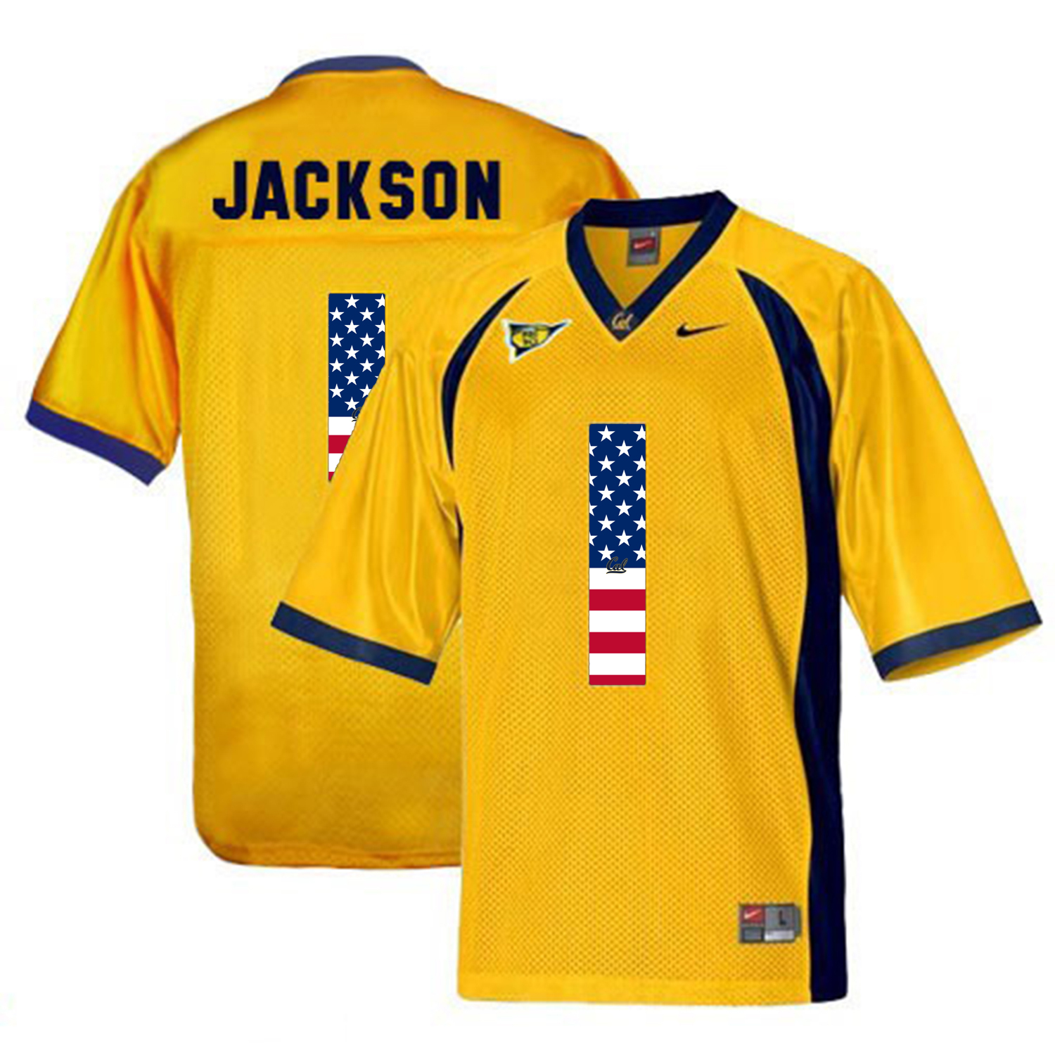 2016 US Flag Fashion Men California Golden Bears DeSean Jackson 1 College Football Jersey Golden