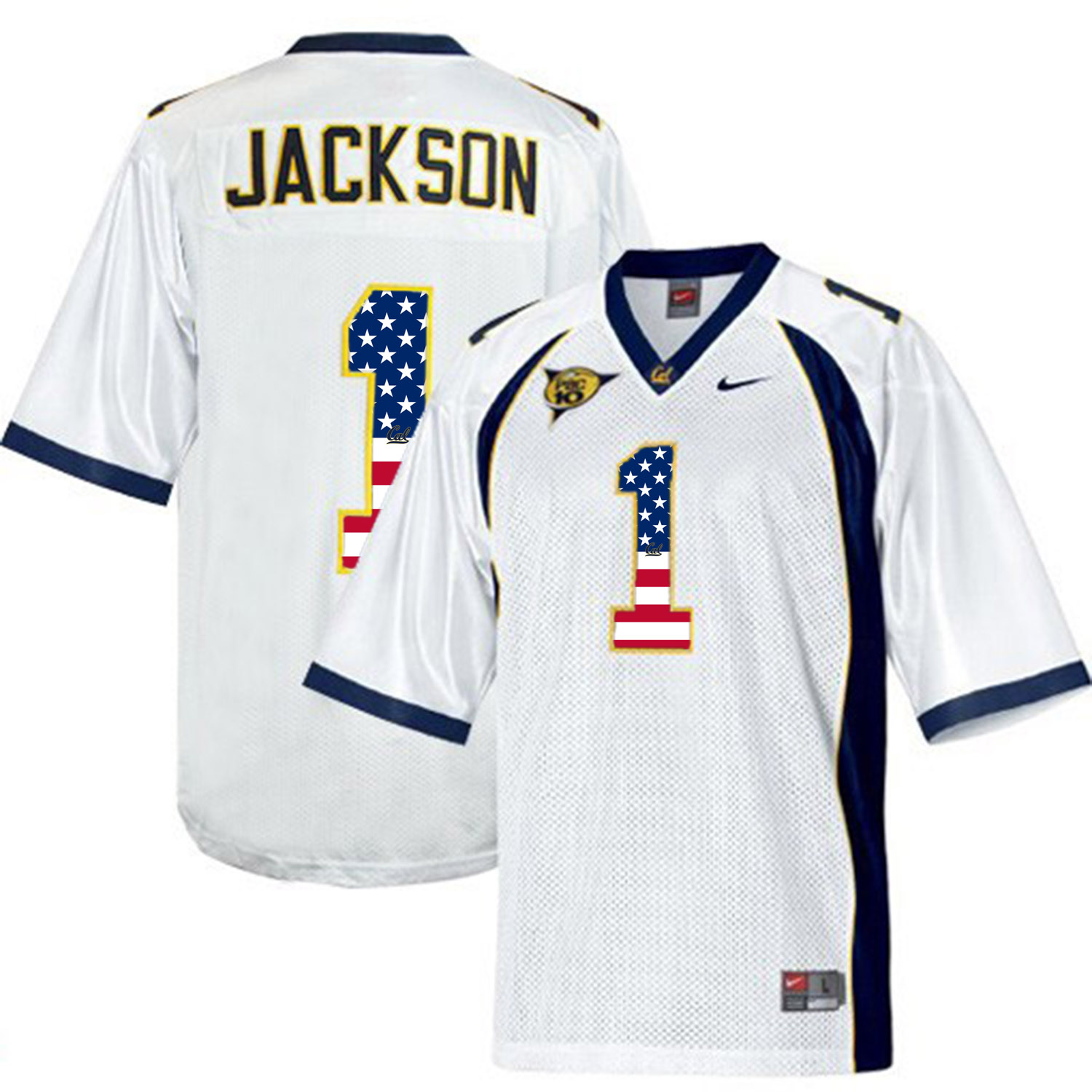 2016 US Flag Fashion Men California Golden Bears DeSean Jackson 1 College Football Jersey White