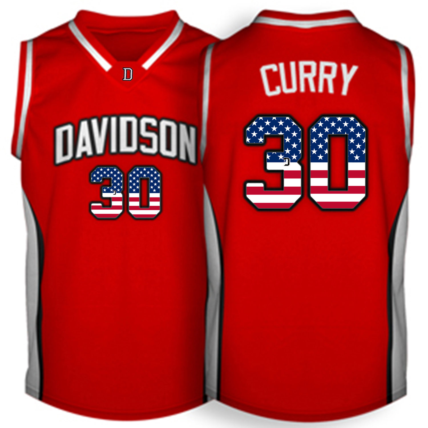 2016 US Flag Fashion Men Davidson Wildcat Stephen Curry 30 College Basketball Jerseys Red