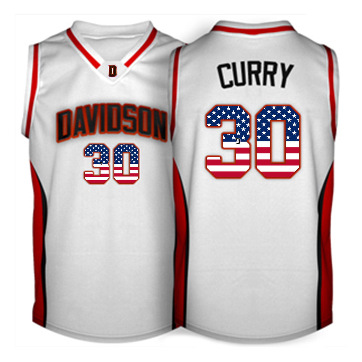 2016 US Flag Fashion Men Davidson Wildcat Stephen Curry 30 College Basketball Jerseys White