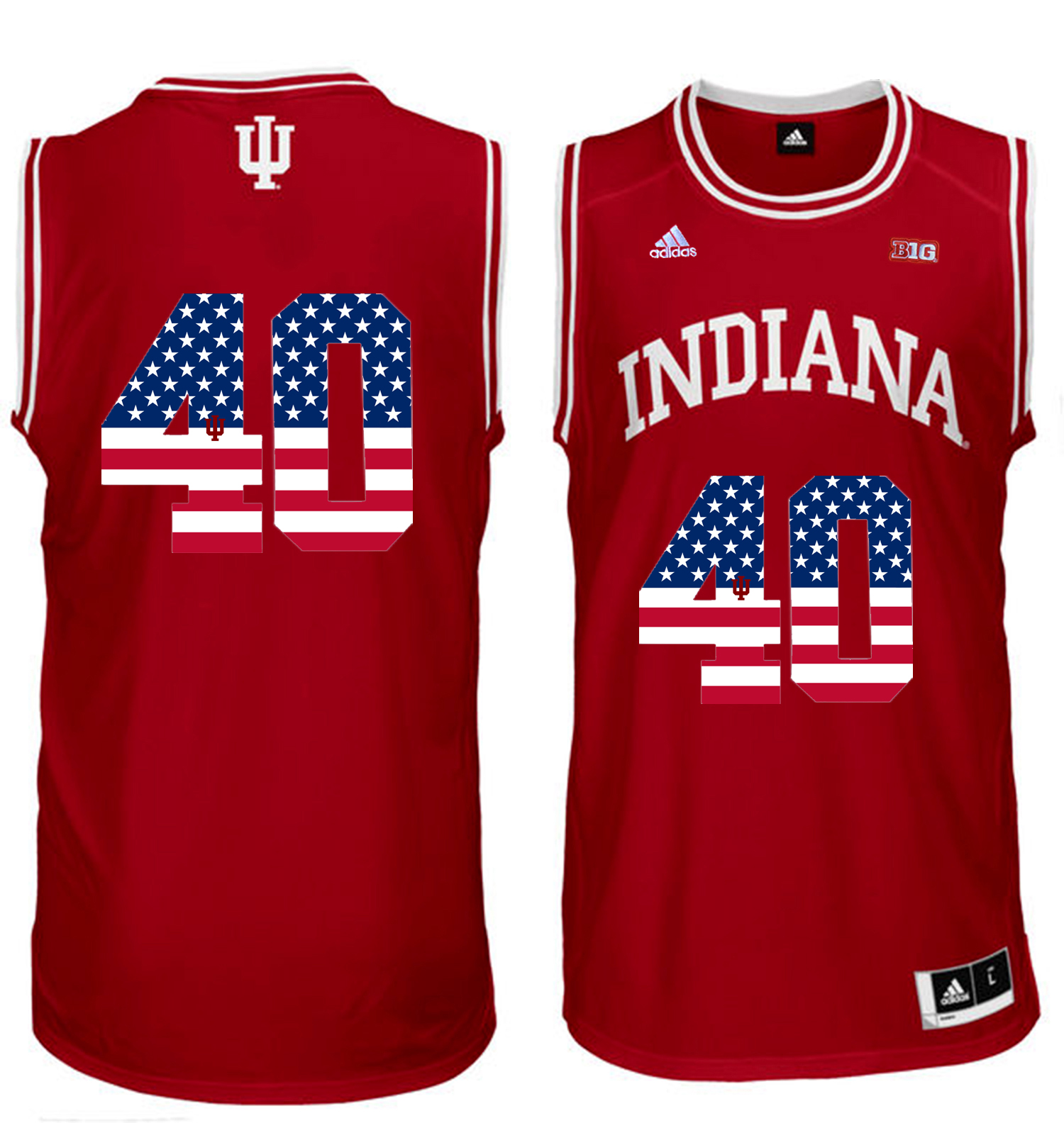 2016 US Flag Fashion Men Indiana Hoosiers Cody Zeller 40 Big 10 Patch College Basketball Authentic Jerseys Cardinal