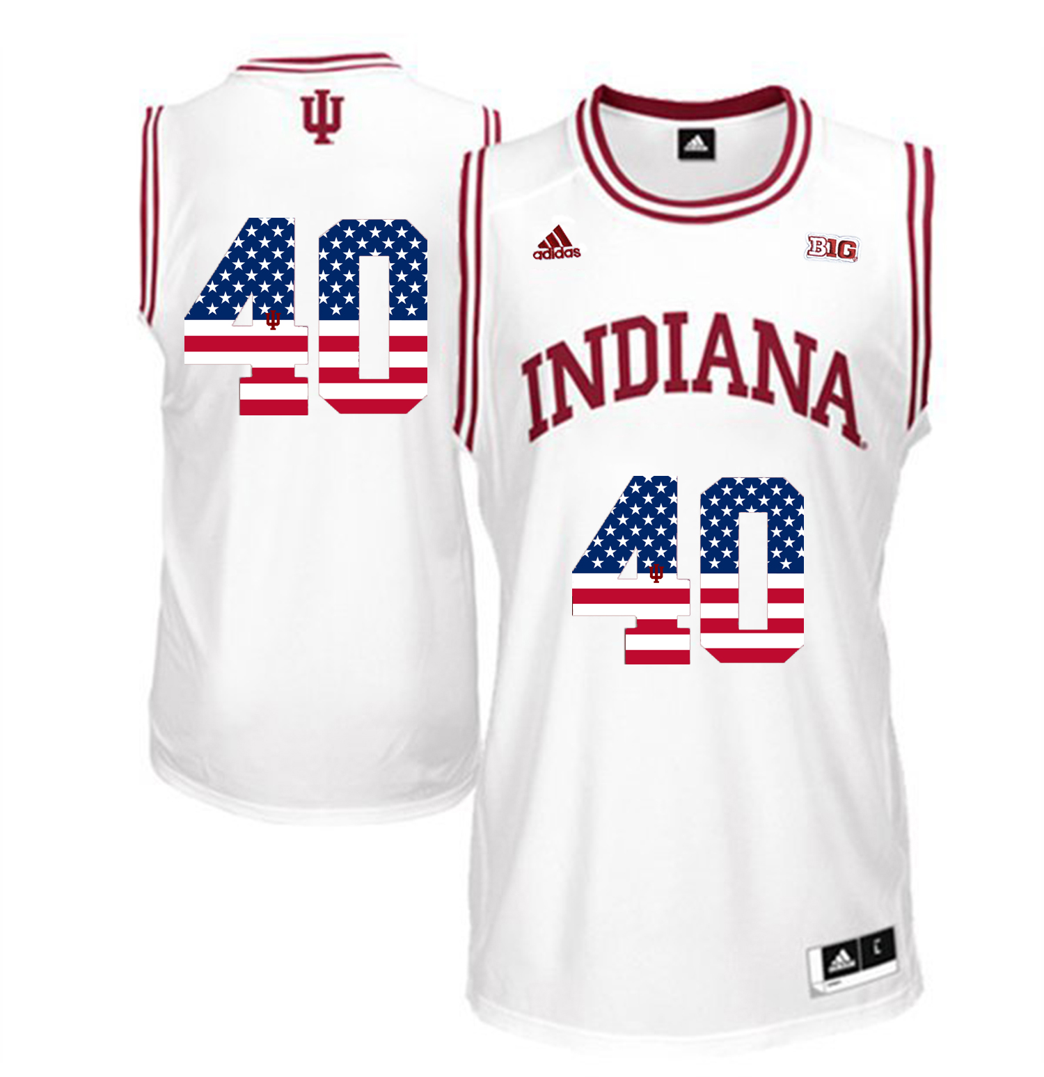 2016 US Flag Fashion Men Indiana Hoosiers Cody Zeller 40 Big 10 Patch College Basketball Authentic Jerseys White