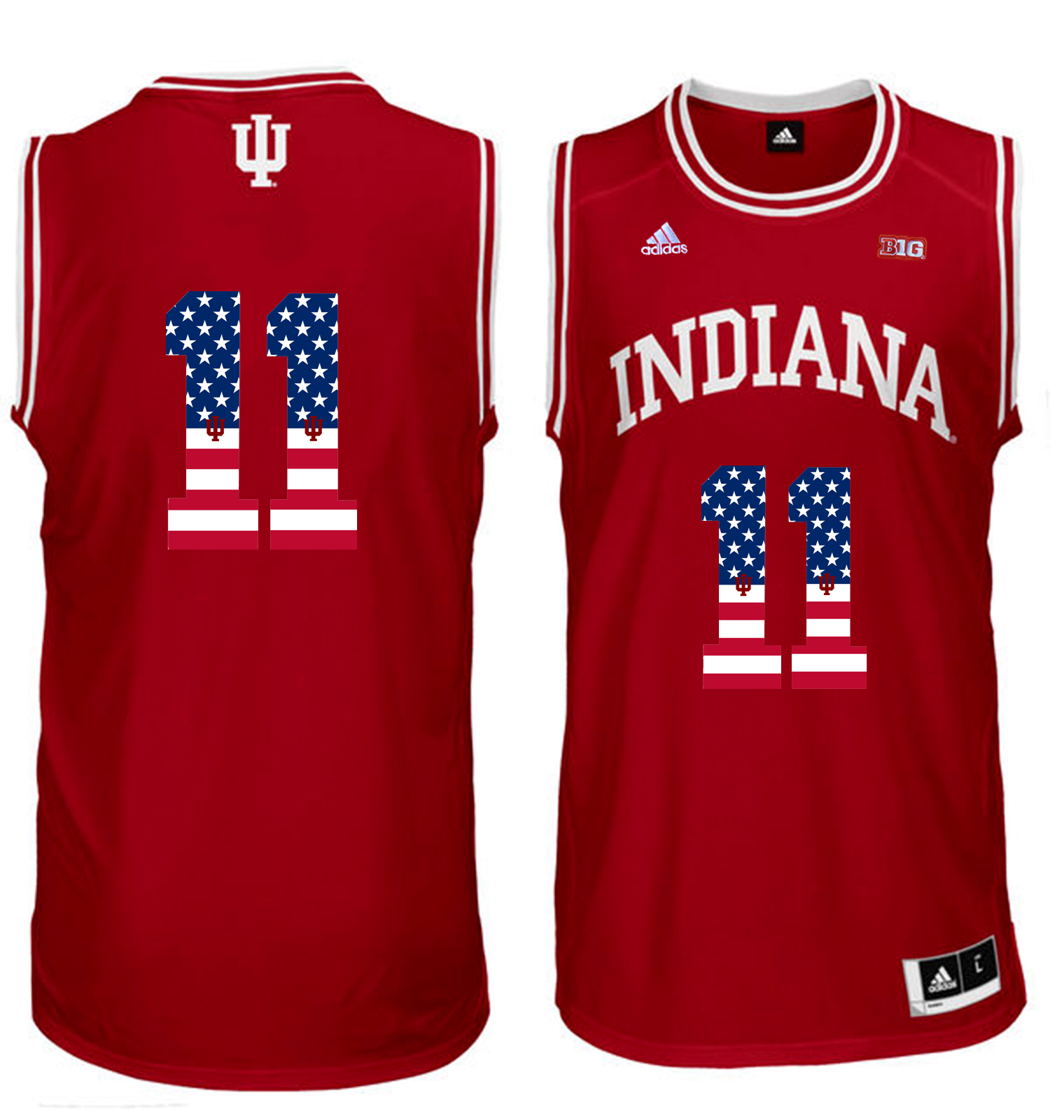 2016 US Flag Fashion Men Indiana Hoosiers Isiah Thomas 11 Big 10 Patch College Basketball Authentic Jerseys Red