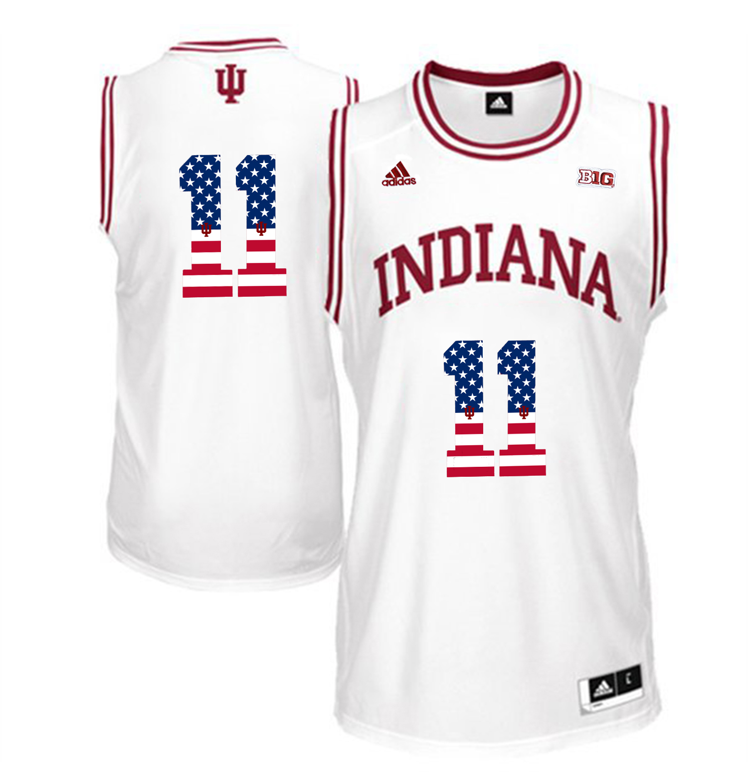 2016 US Flag Fashion Men Indiana Hoosiers Isiah Thomas 11 Big 10 Patch College Basketball Authentic Jerseys White