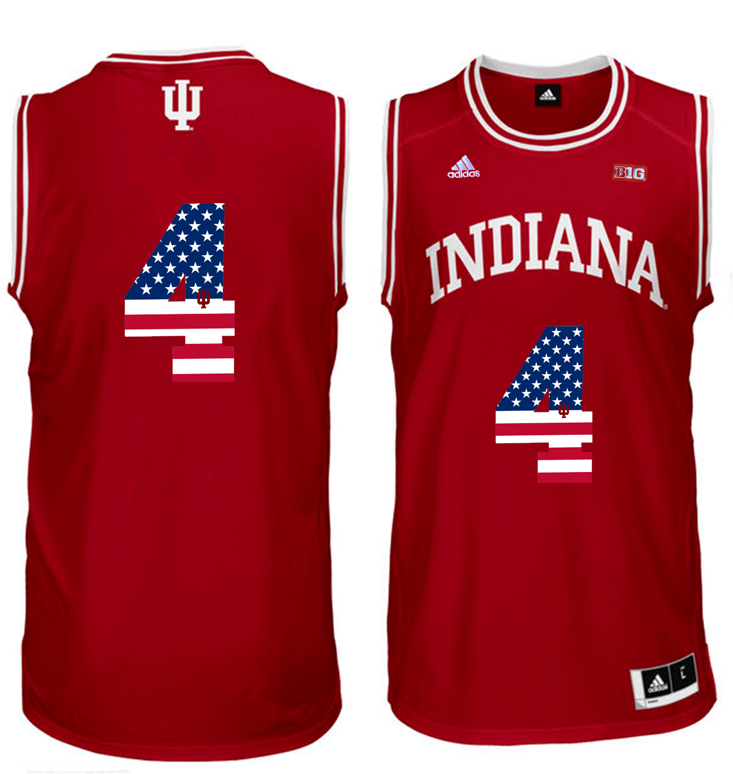 2016 US Flag Fashion Men Indiana Hoosiers Victor Oladipo 4 Big 10 Patch College Basketball Authentic Jerseys Red