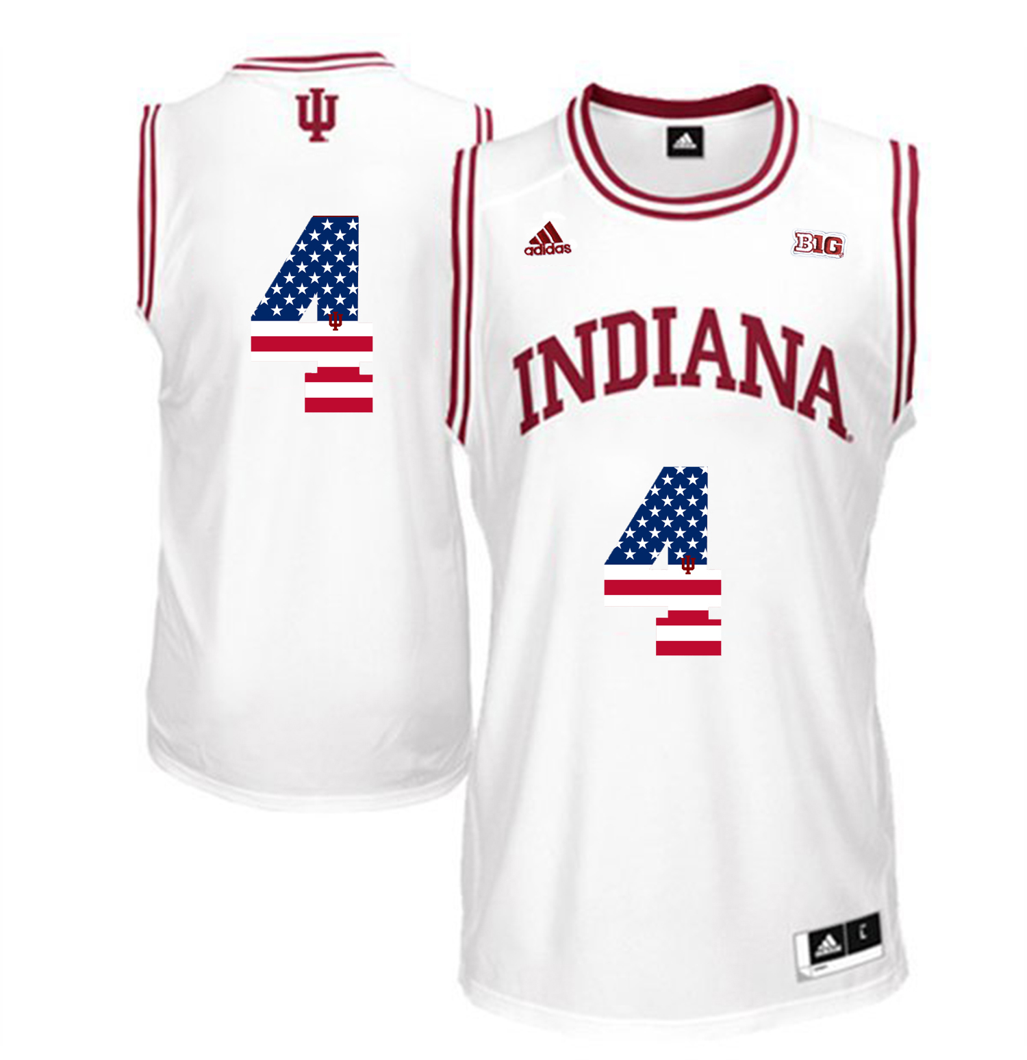 2016 US Flag Fashion Men Indiana Hoosiers Victor Oladipo 4 Big 10 Patch College Basketball Authentic Jerseys White
