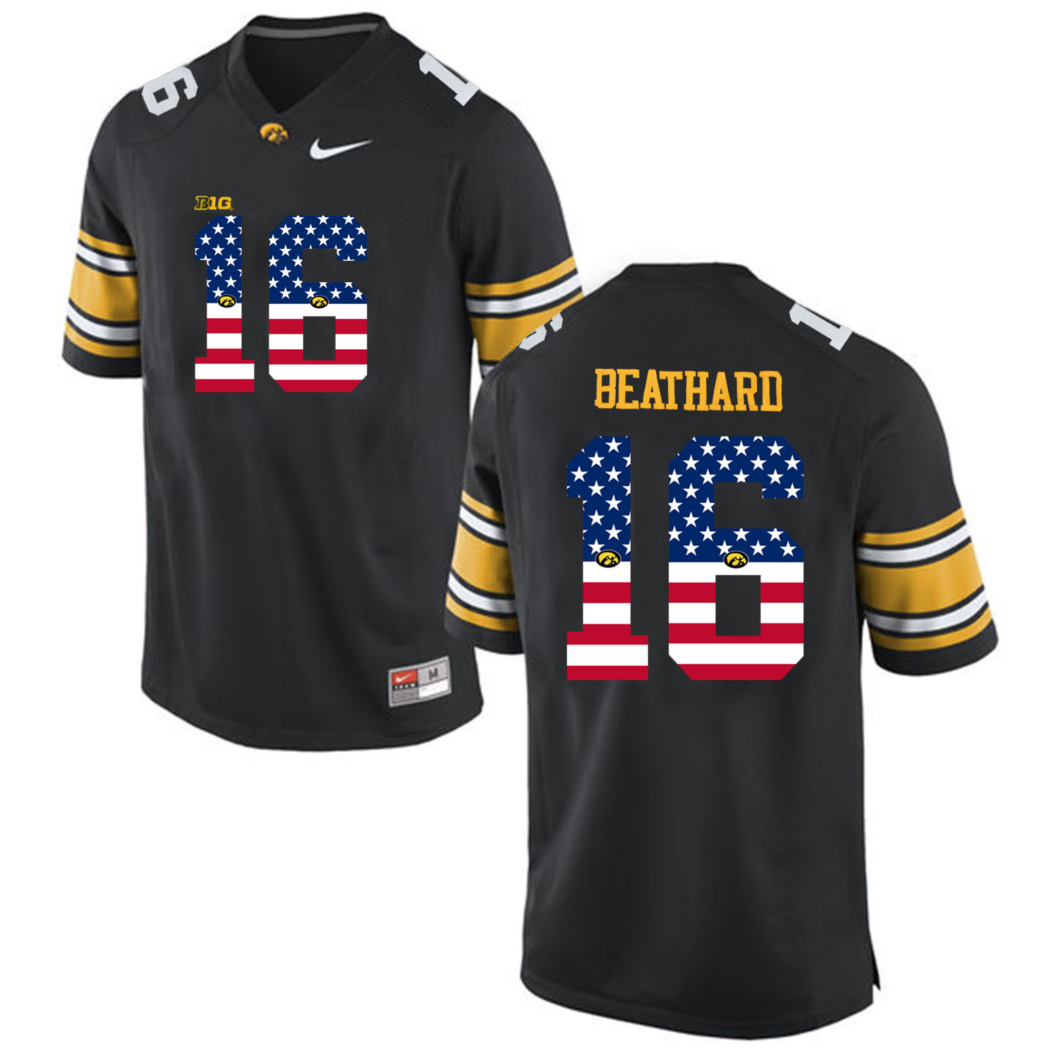 2016 US Flag Fashion Men Iowa Hawkeyes C.J Beathard 16 College Football Limited Jersey Black