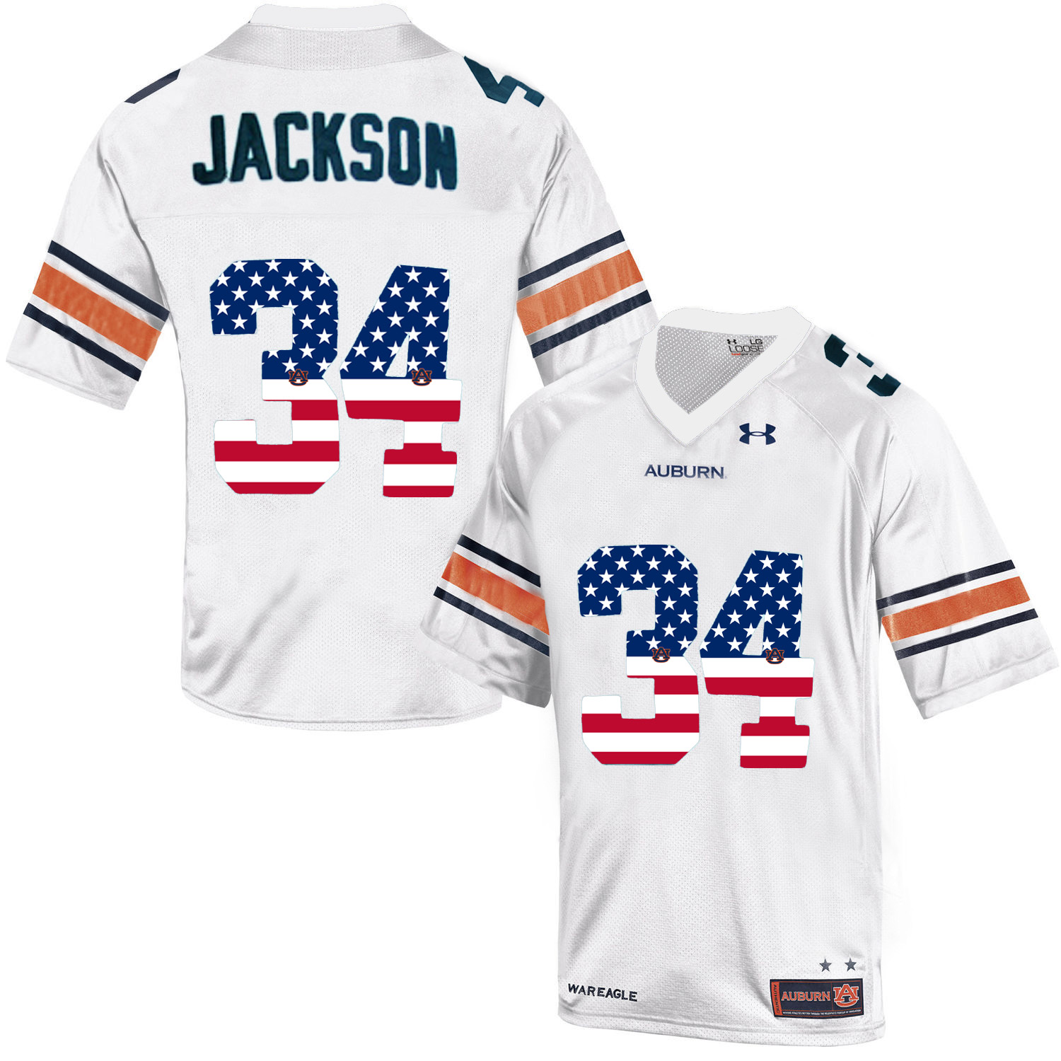 2016 US Flag Fashion Men Under Armour Bo Jackson 34 Auburn Tigers College Football Throwback Jersey White