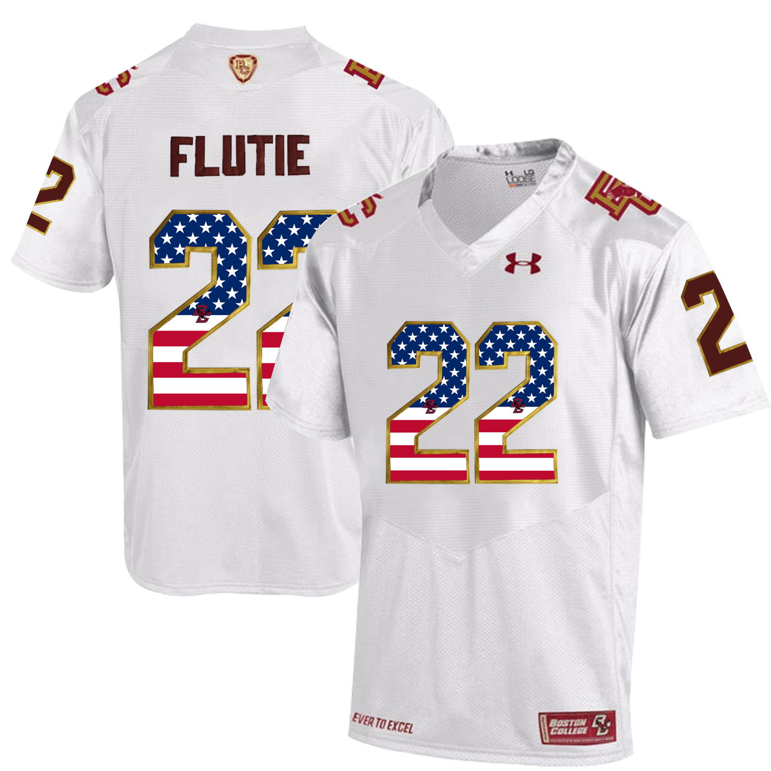 2016 US Flag Fashion Men Under Armour Boston College Eagles Doug Flutie 22 Fenway Event Authentic Performance Jersey White