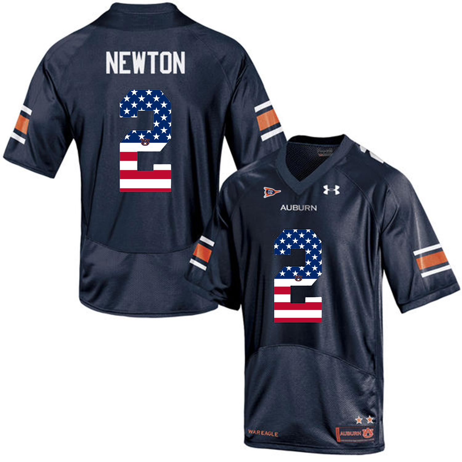 2016 US Flag Fashion Men Under Armour Cam Newton 2 Auburn Tigers College Football Jersey Navy Blue
