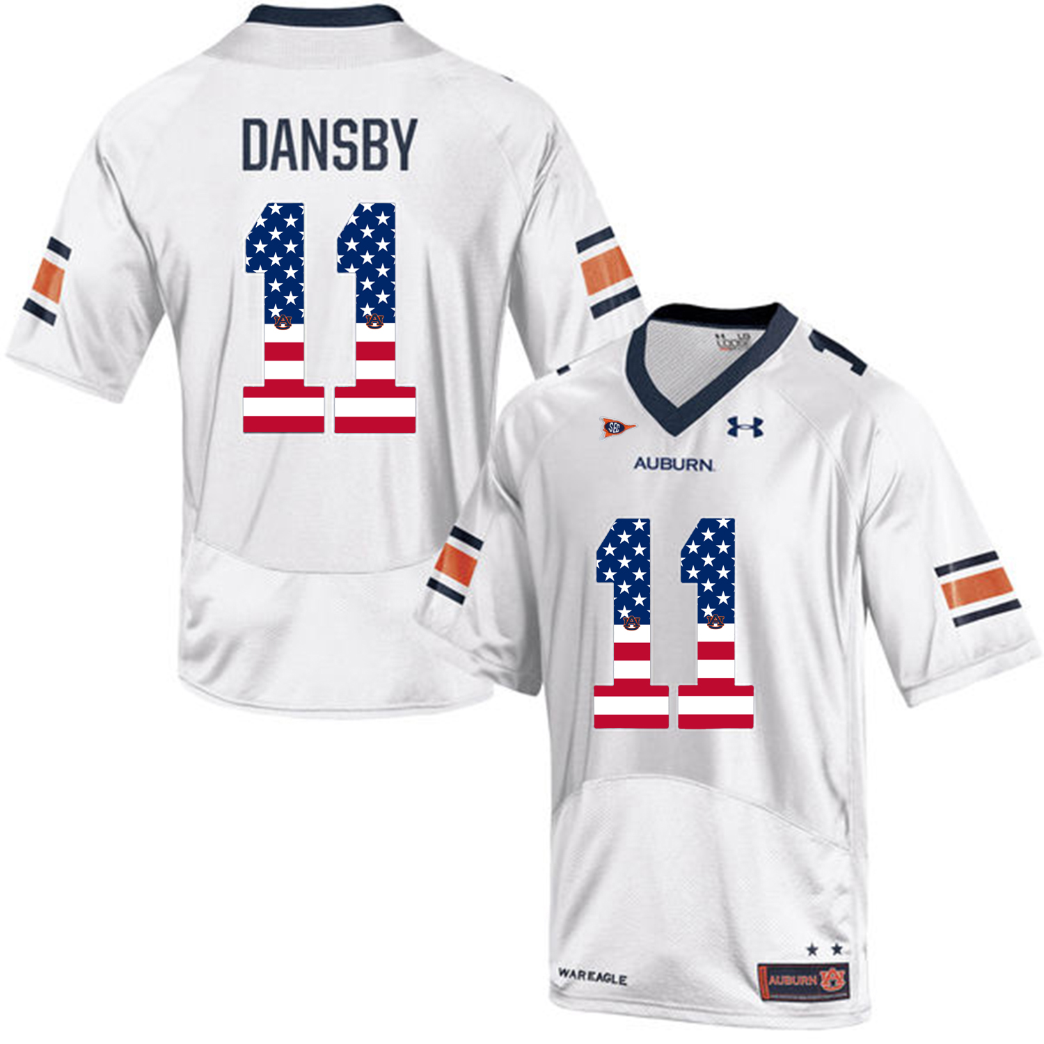 2016 US Flag Fashion Men Under Armour Karlos Dansby 11 Auburn Tigers College Football Jersey White
