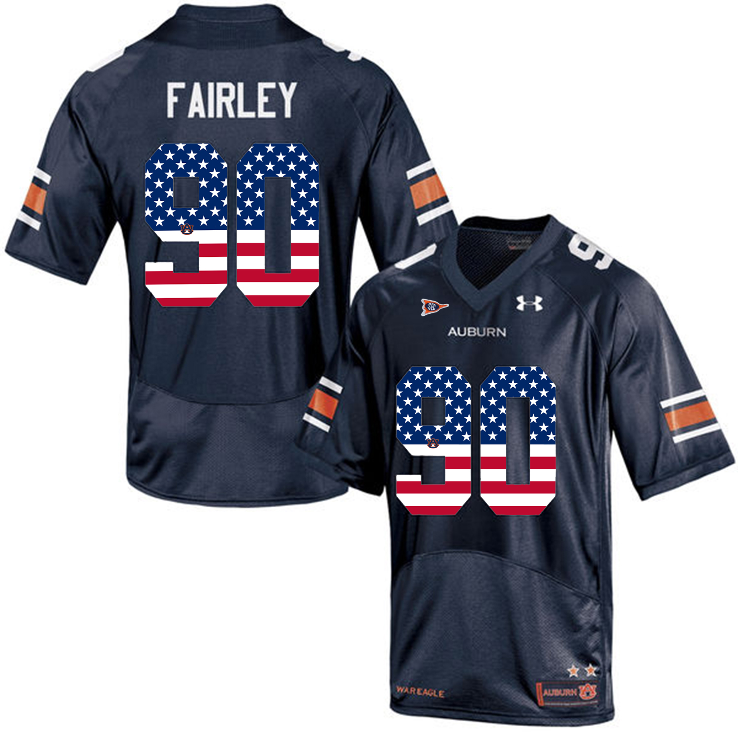 2016 US Flag Fashion Men Under Armour Nick Fairley 90 Auburn Tigers College Football Jersey Navy Blue