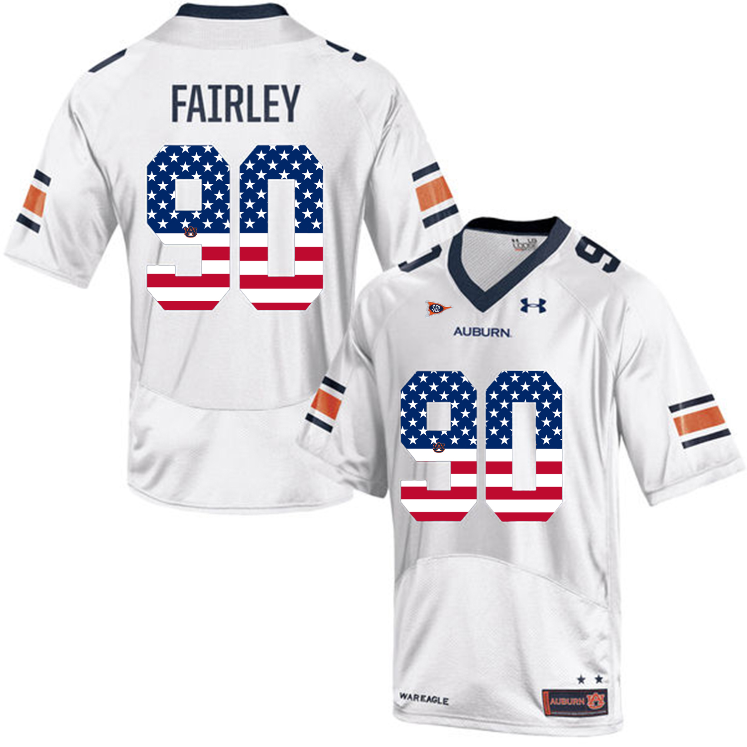 2016 US Flag Fashion Men Under Armour Nick Fairley 90 Auburn Tigers College Football Jersey White
