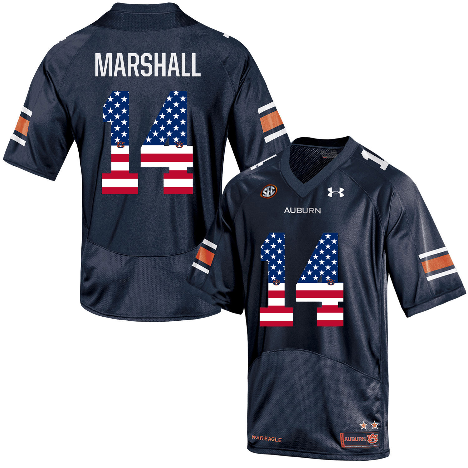 2016 US Flag Fashion Men Under Armour Nick Marshall 14 Auburn Tigers College Football Jersey Navy Blue