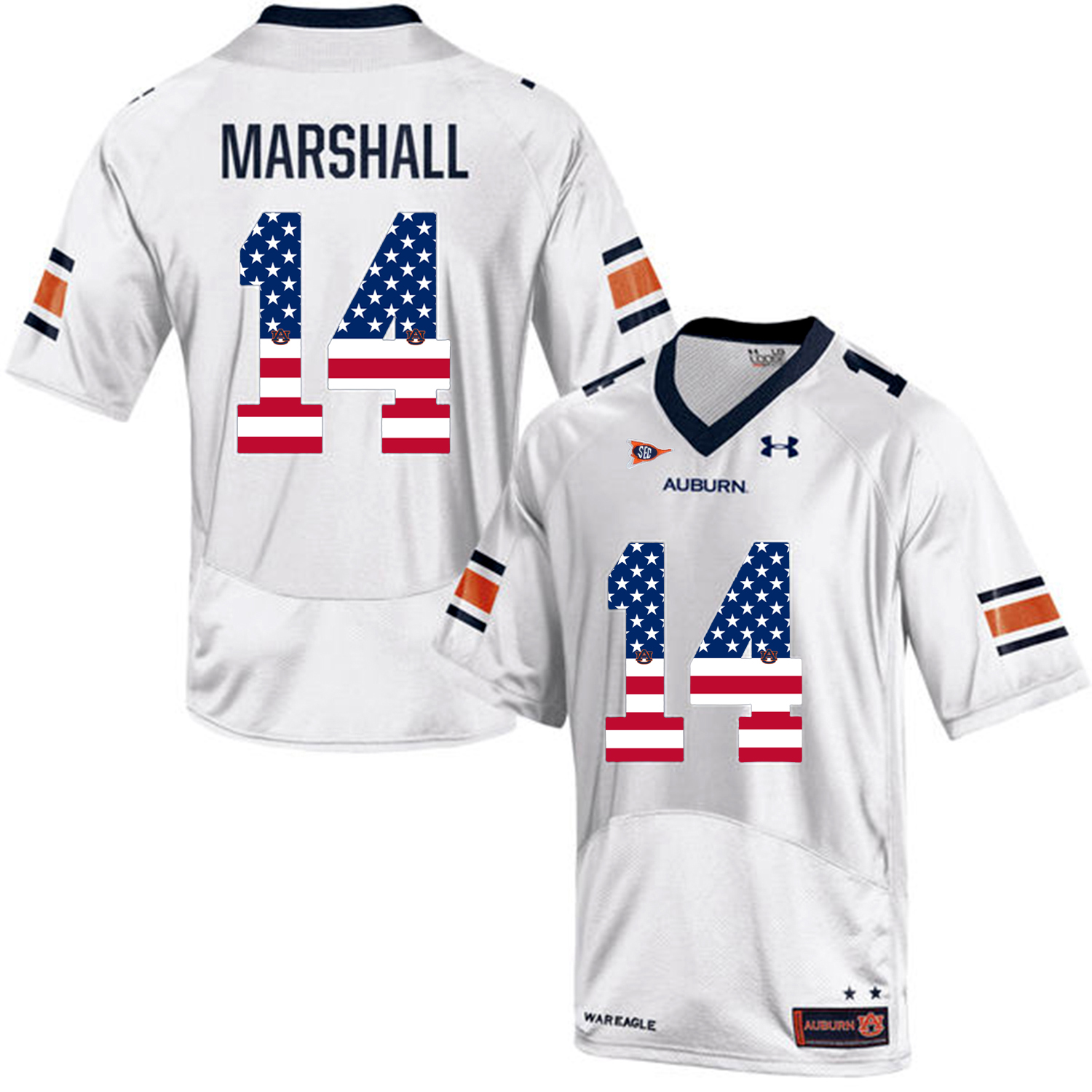 2016 US Flag Fashion Men Under Armour Nick Marshall 14 Auburn Tigers College Football Jersey White