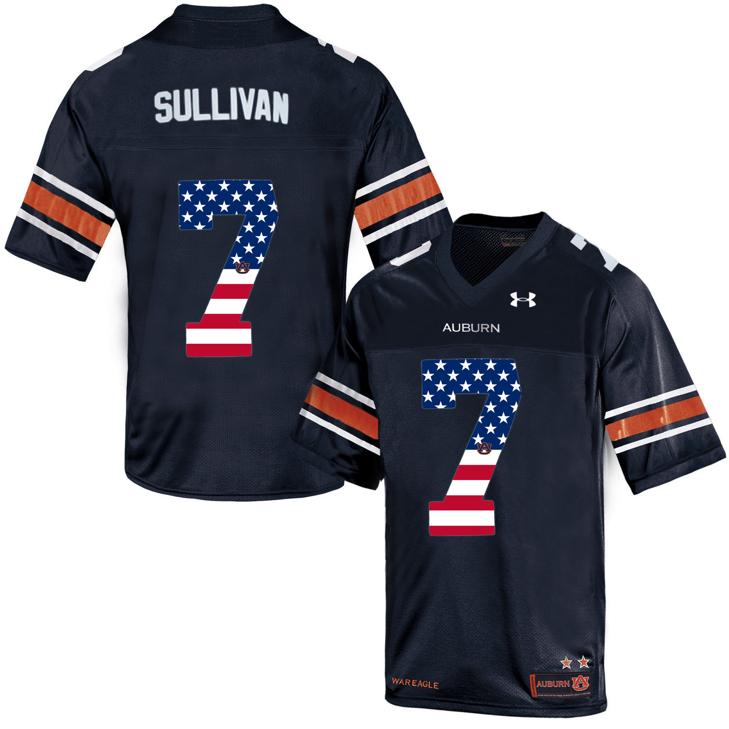 2016 US Flag Fashion Men Under Armour Pat Sullivan 7 Auburn Tigers College Football Throwback Jersey Navy Blue