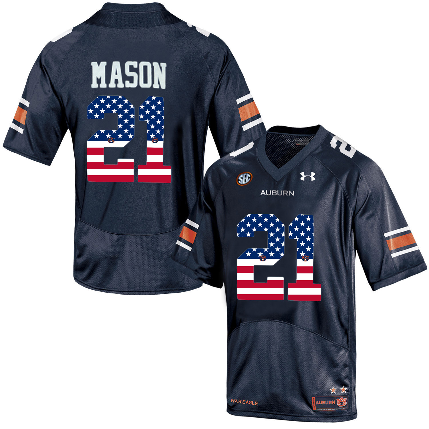 2016 US Flag Fashion Men Under Armour Tre Mason 21 Auburn Tigers College Football Jersey Navy Blue