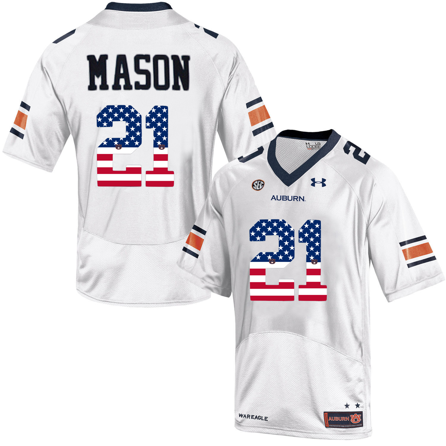 2016 US Flag Fashion Men Under Armour Tre Mason 21 Auburn Tigers College Football Jersey White
