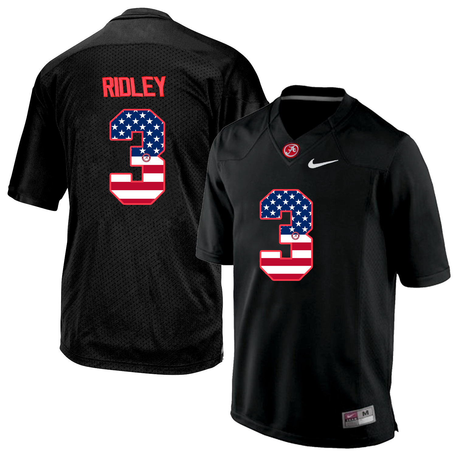 2016 US Flag Fashion Men's Alabama Crimson Tide Calvin Ridley 3 College Football Limited Jersey Blackout