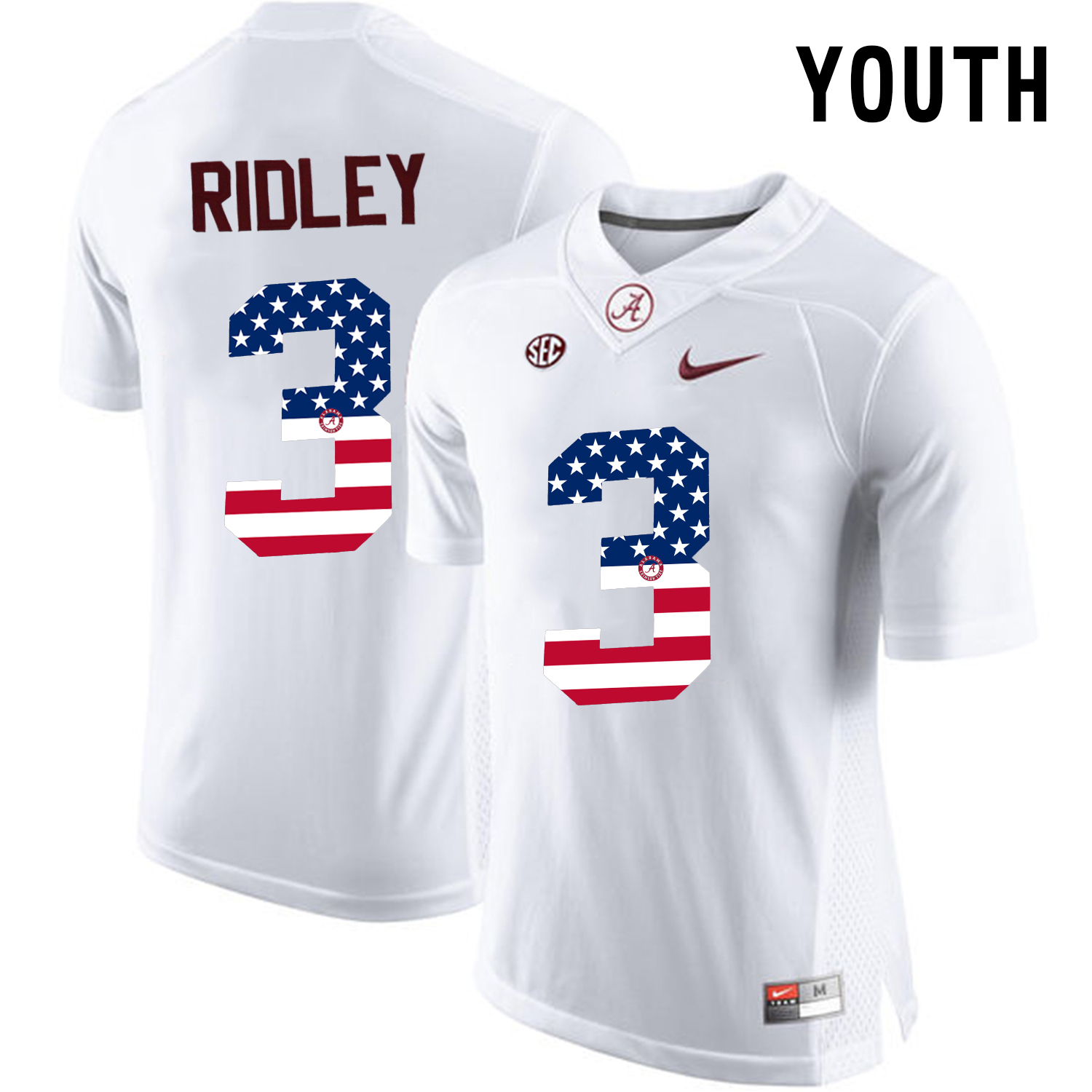 2016 US Flag Fashion Youth Alabama Crimson Tide Calvin Ridley 3 College Football Limited Jersey White