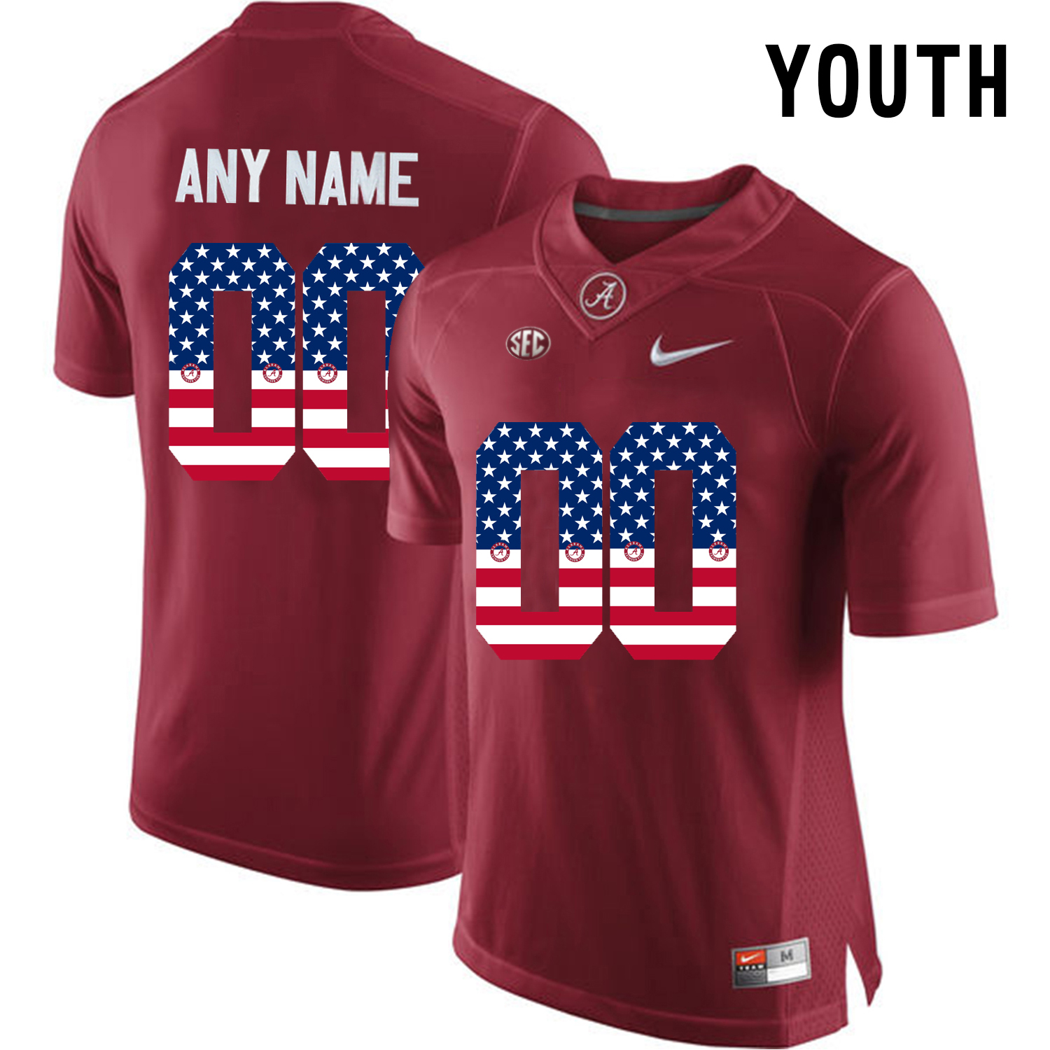 2016 US Flag Fashion Youth Alabama Crimson Tide Customize College Football Limited Jersey Crimson
