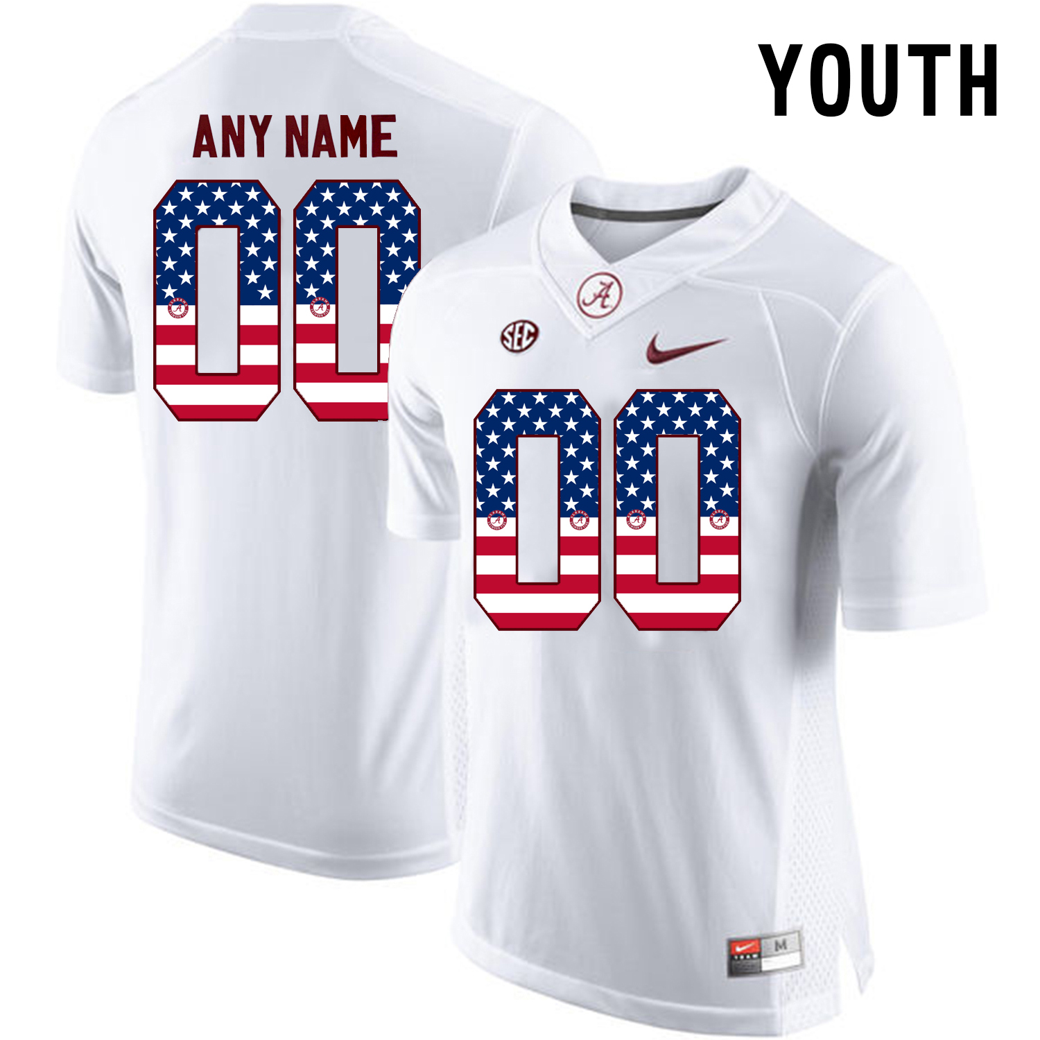 2016 US Flag Fashion Youth Alabama Crimson Tide Customize College Football Limited Jersey White