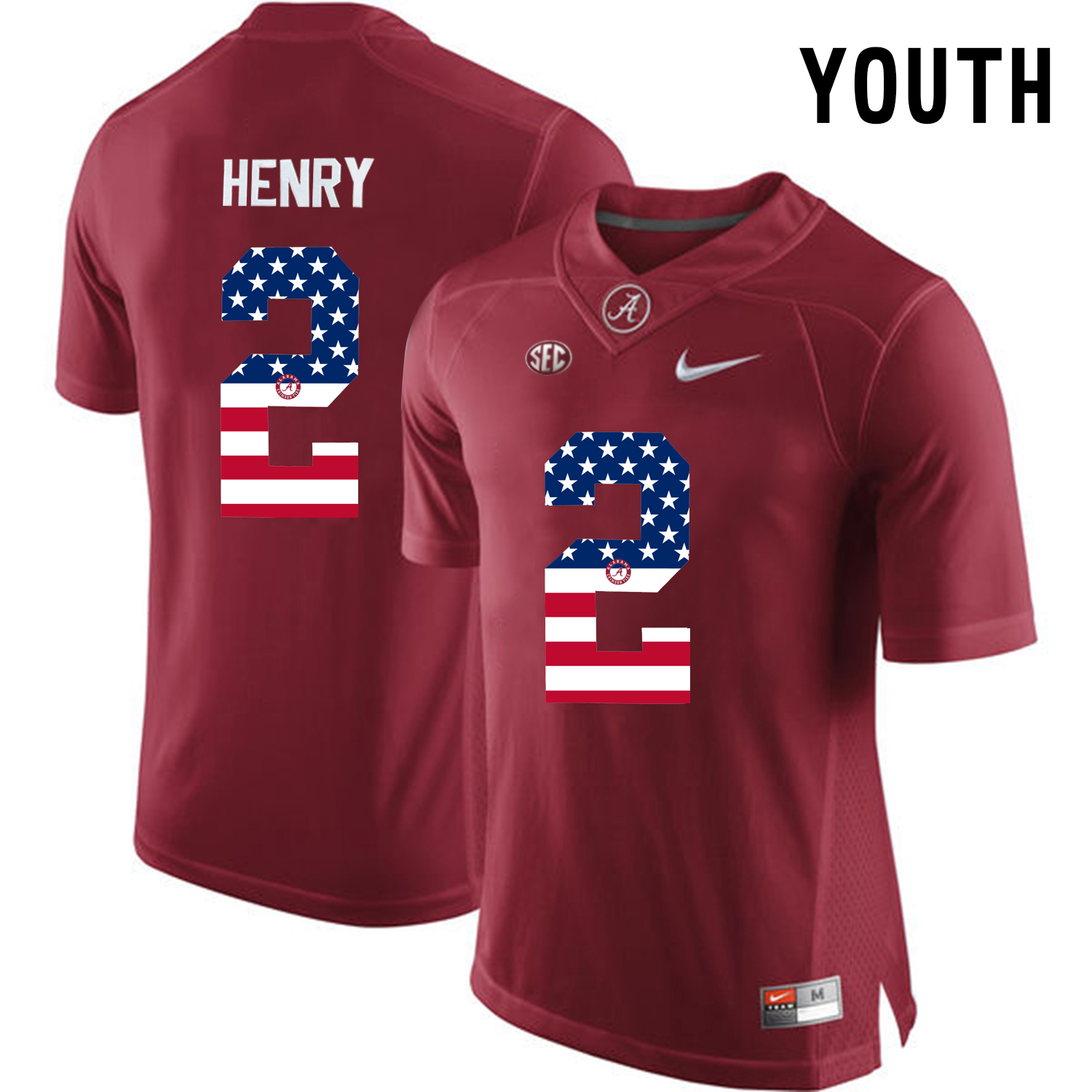2016 US Flag Fashion Youth Alabama Crimson Tide Derrick Henry 2 College Football Limited Jersey Crimson