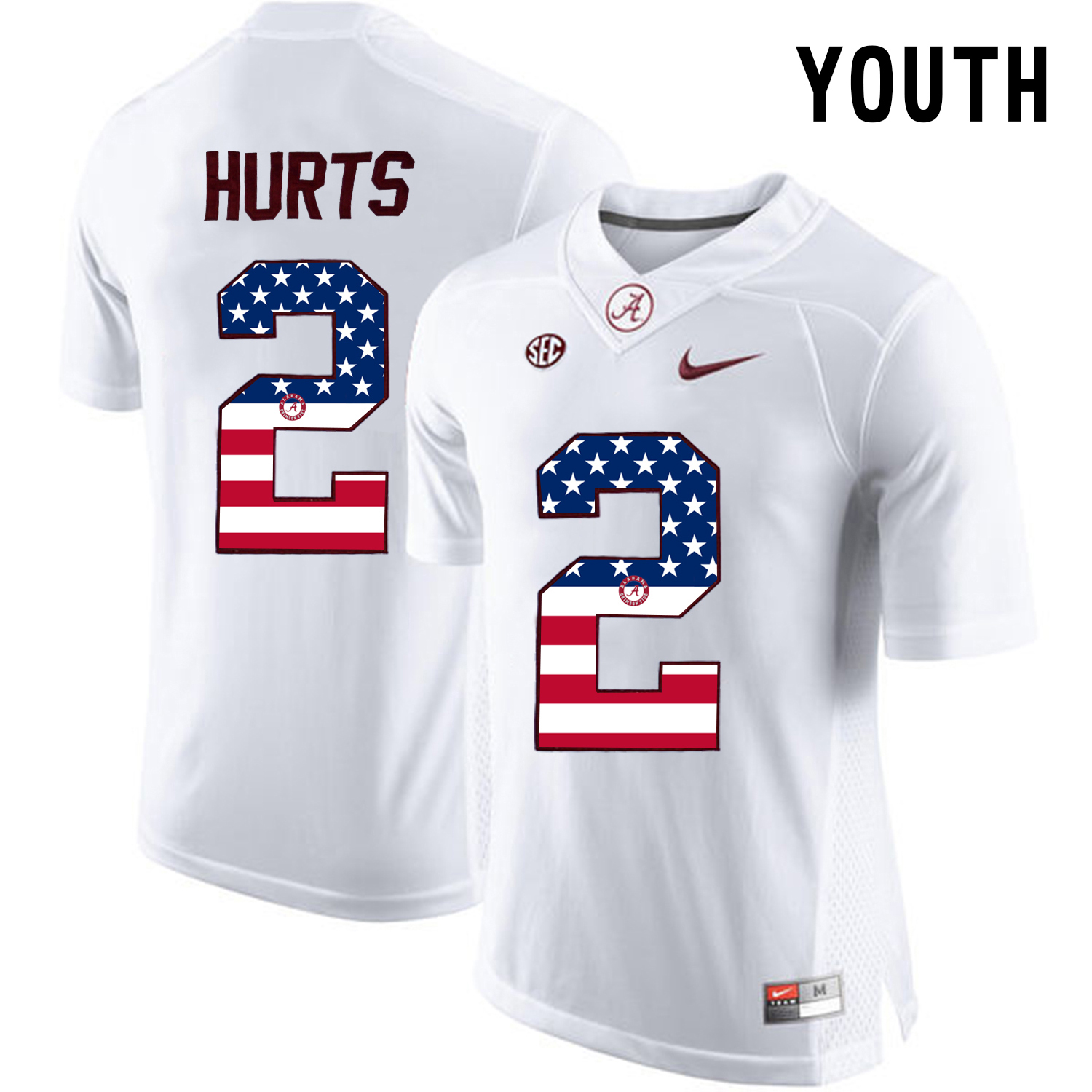 2016 US Flag Fashion Youth Alabama Crimson Tide Jalen Hurts 2 College Football Limited Jerseys White