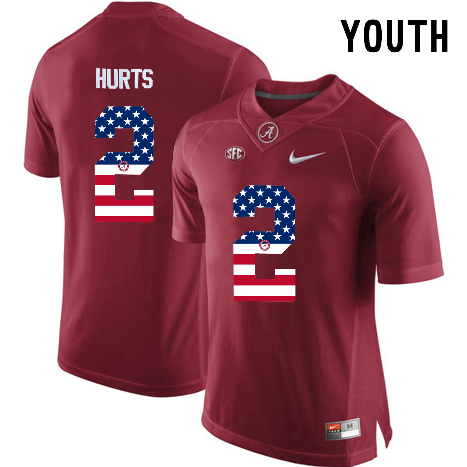 2016 US Flag Fashion Youth Alabama Crimson Tide Jalen Hurts 2 College Football Limited Jerseys Crimson