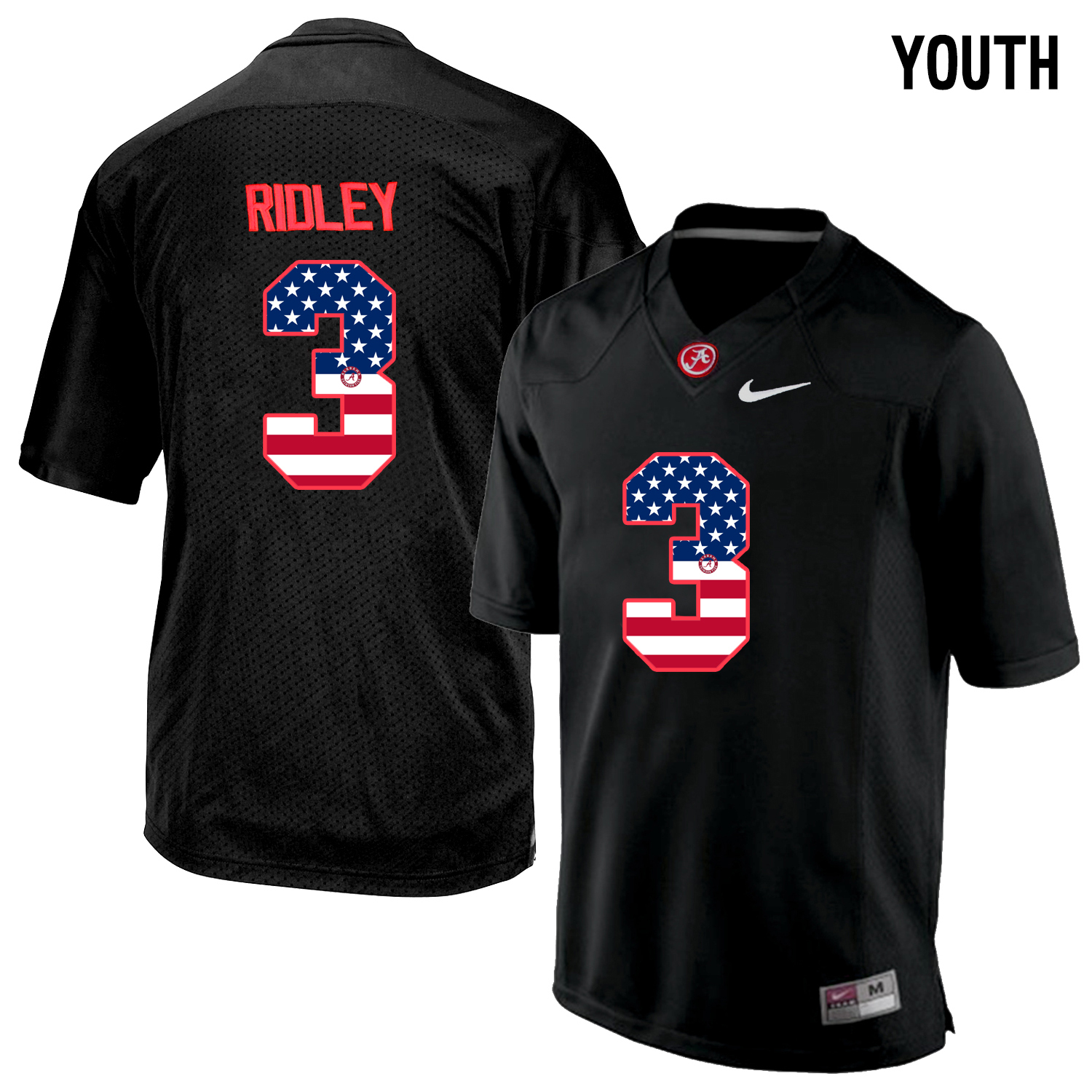 2016 US Flag Fashion Youth Alabama Crimson Tide Calvin Ridley 3 College Football Limited Jersey Blackout