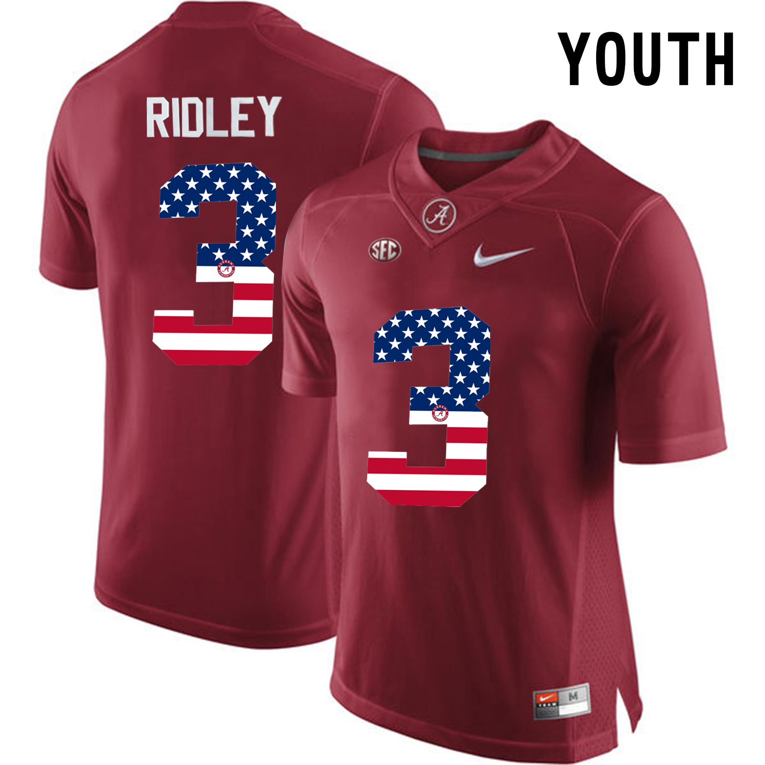 2016 US Flag Fashion Youth Alabama Crimson Tide Calvin Ridley 3 College Football Limited Jersey Crimson