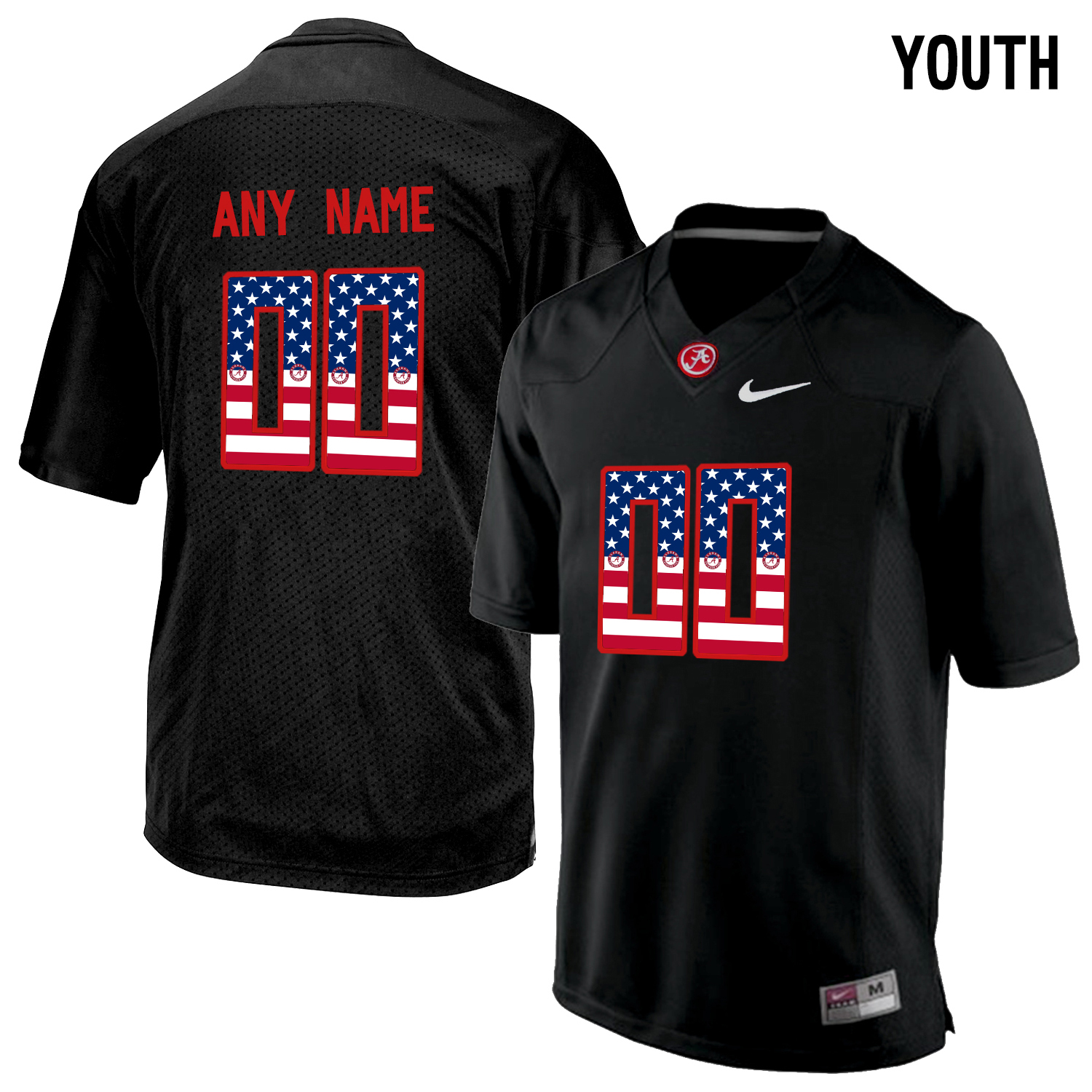 2016 US Flag Fashion Youth Alabama Crimson Tide Customized College Football Limited Jerseys Blackout