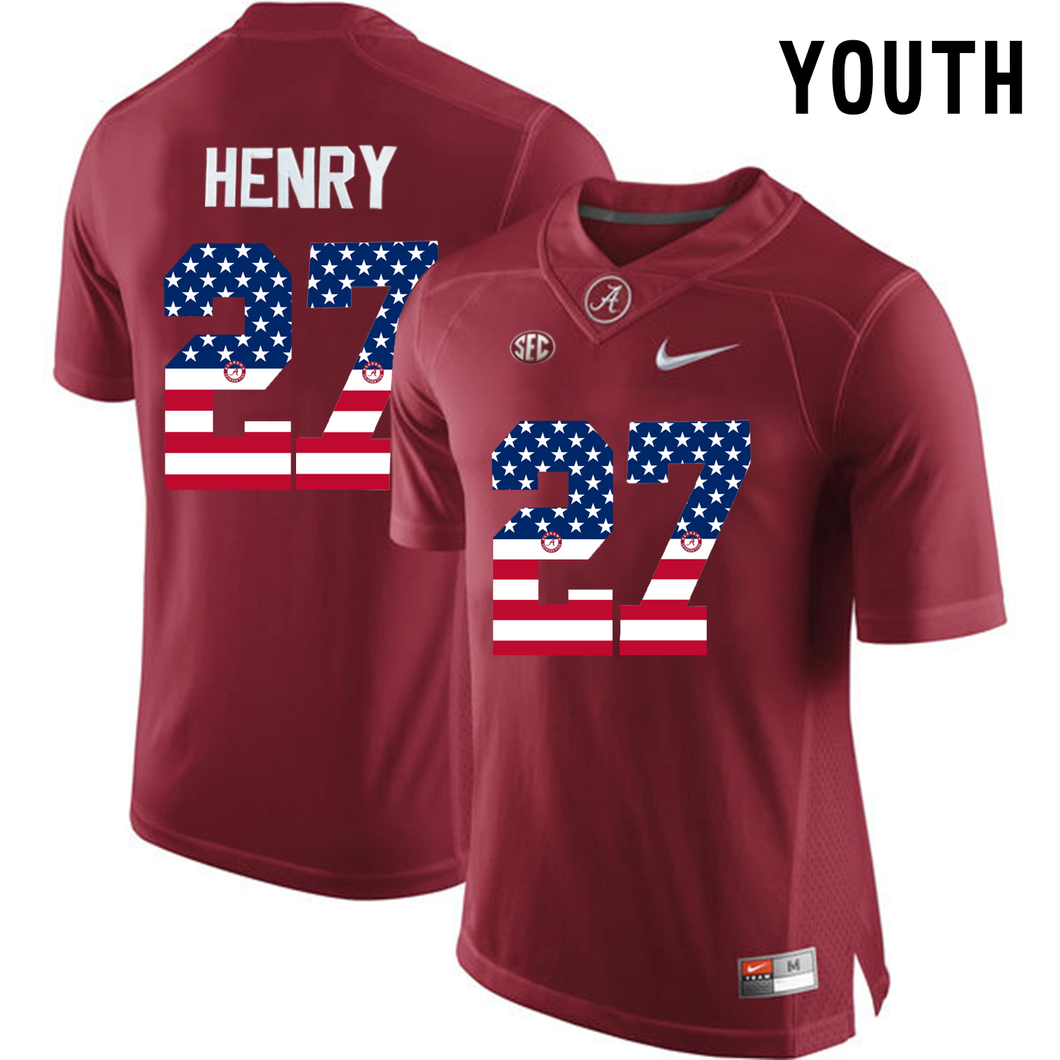 2016 US Flag Fashion Youth Alabama Crimson Tide Derrick Henry 27 College Football Diamond Quest Jersey Crimson