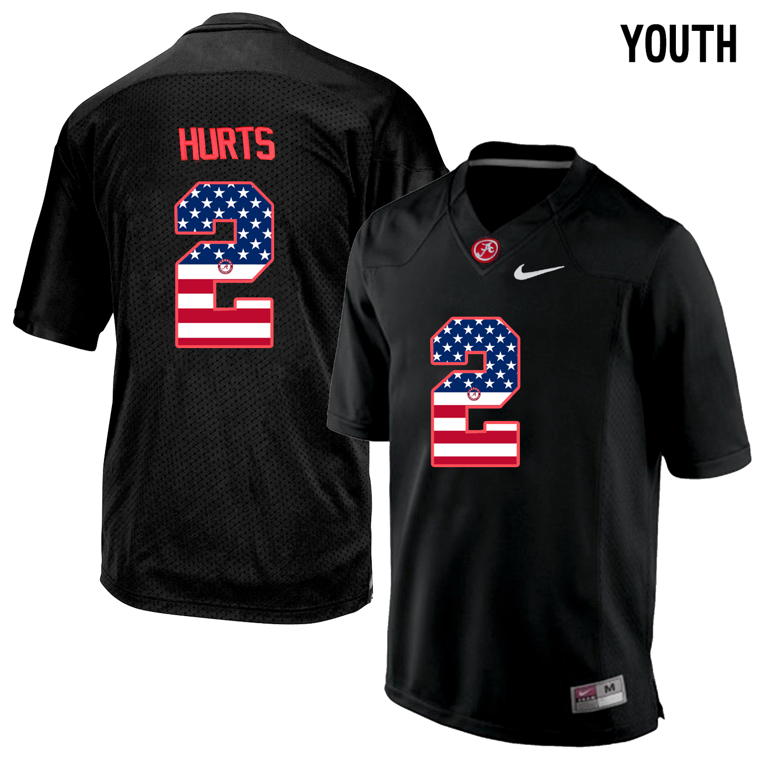 2016 US Flag Fashion Youth Alabama Crimson Tide Jalen Hurts 2 College Football Limited Jerseys Blackout