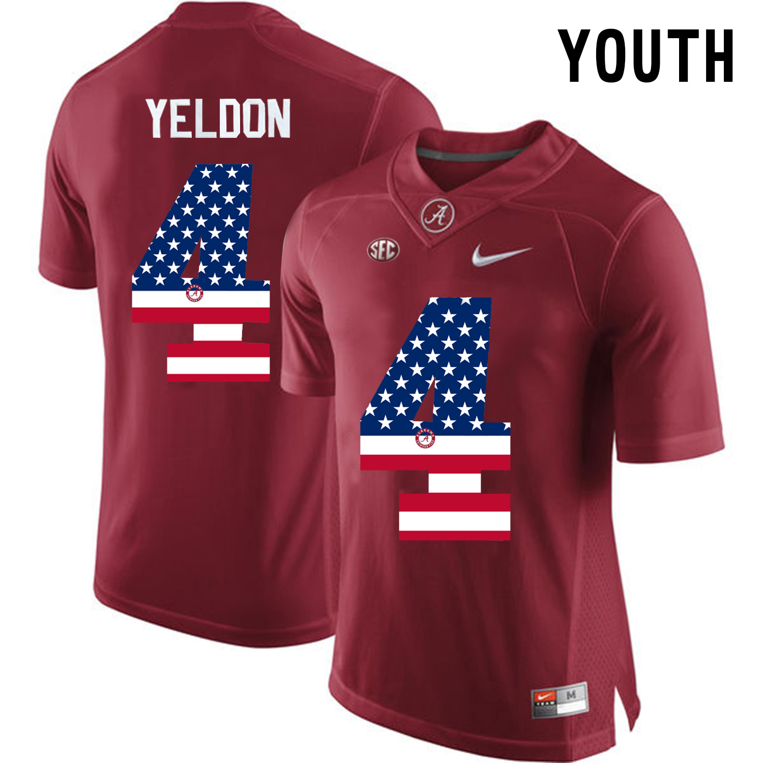 2016 US Flag Fashion Youth Alabama Crimson Tide T.J Yeldon 4 College Football Diamond Quest Jerseys Crimson