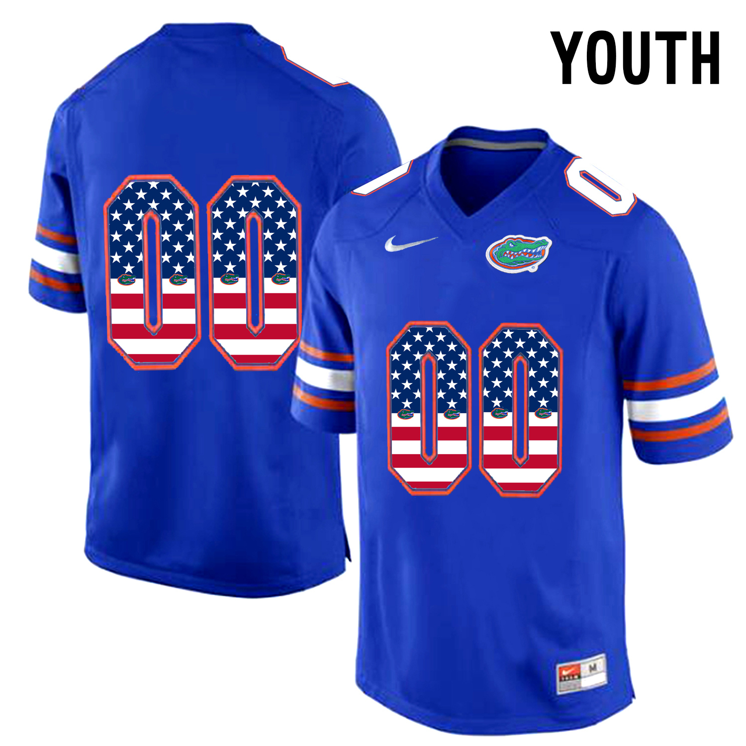 2016 US Flag Fashion Youth Florida Gators Customized College Football Jersey Blue