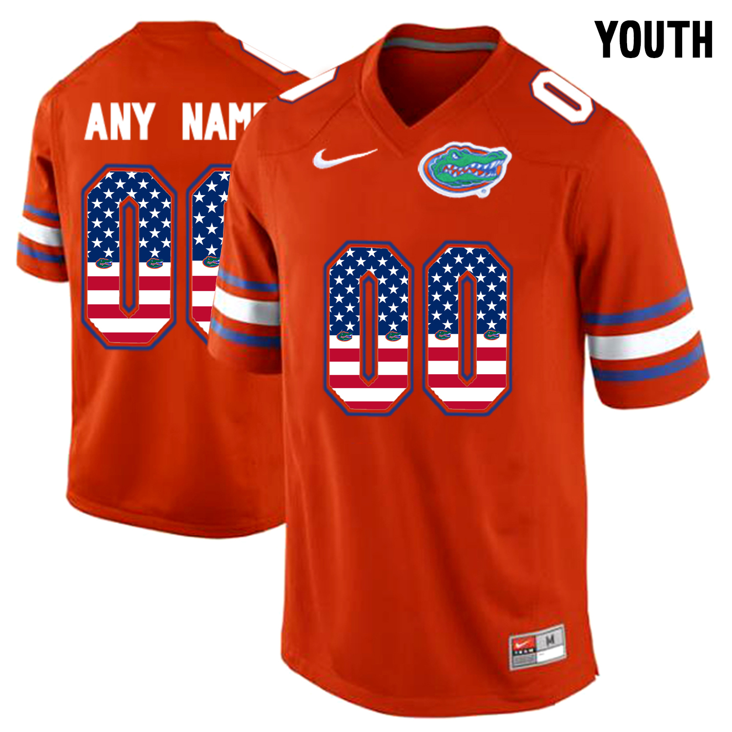 2016 US Flag Fashion Youth Florida Gators Customized College Football Jersey Orange