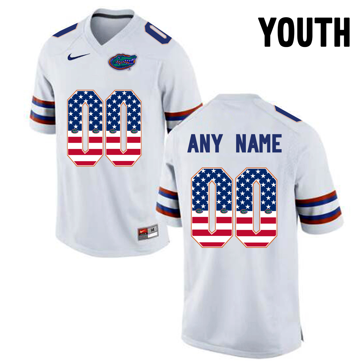 2016 US Flag Fashion Youth Florida Gators Customized College Football Jersey White
