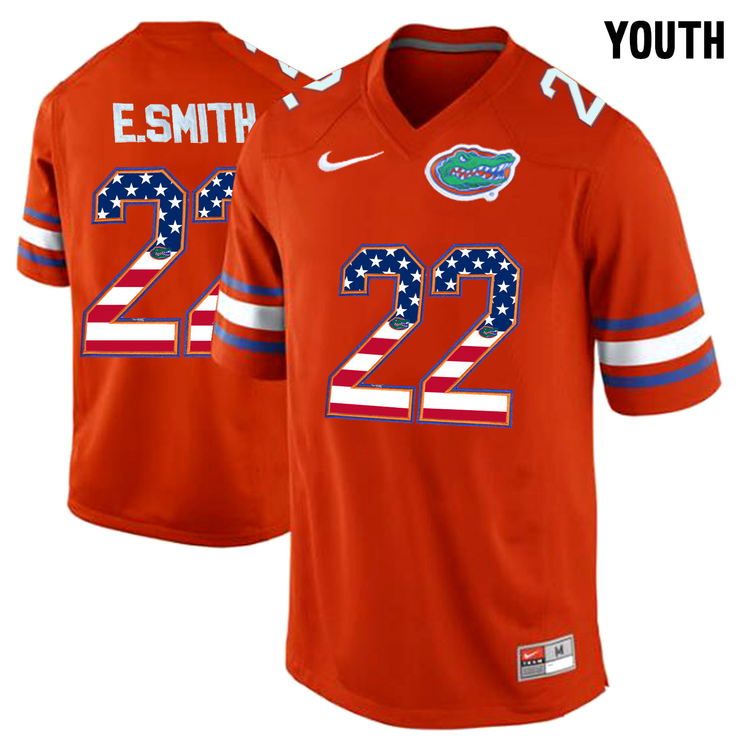 2016 US Flag Fashion Youth Florida Gators E.Smith 22 College Football Jersey Orange