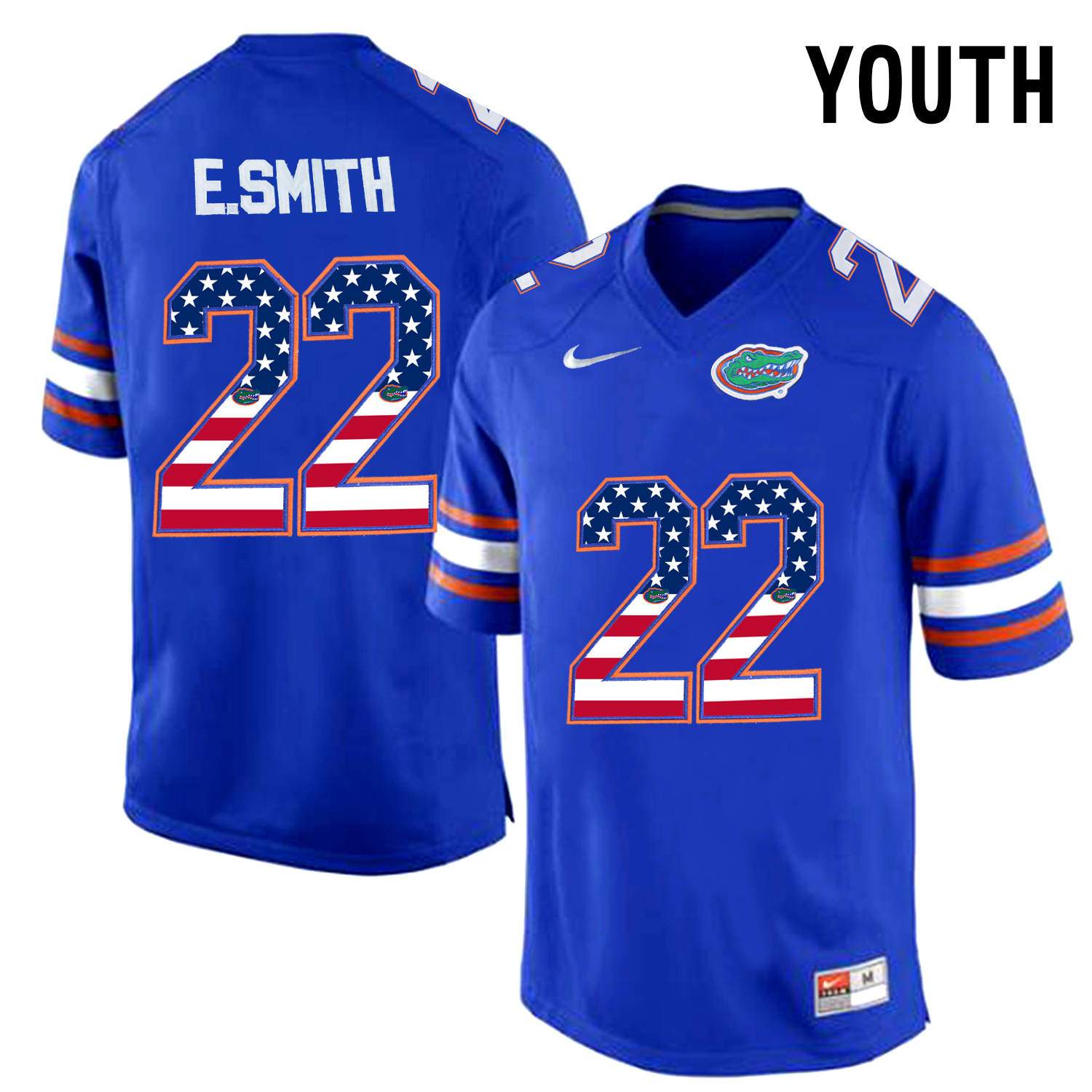 2016 US Flag Fashion Youth Florida Gators E.Smith 22 College Football Jersey Royal Blue
