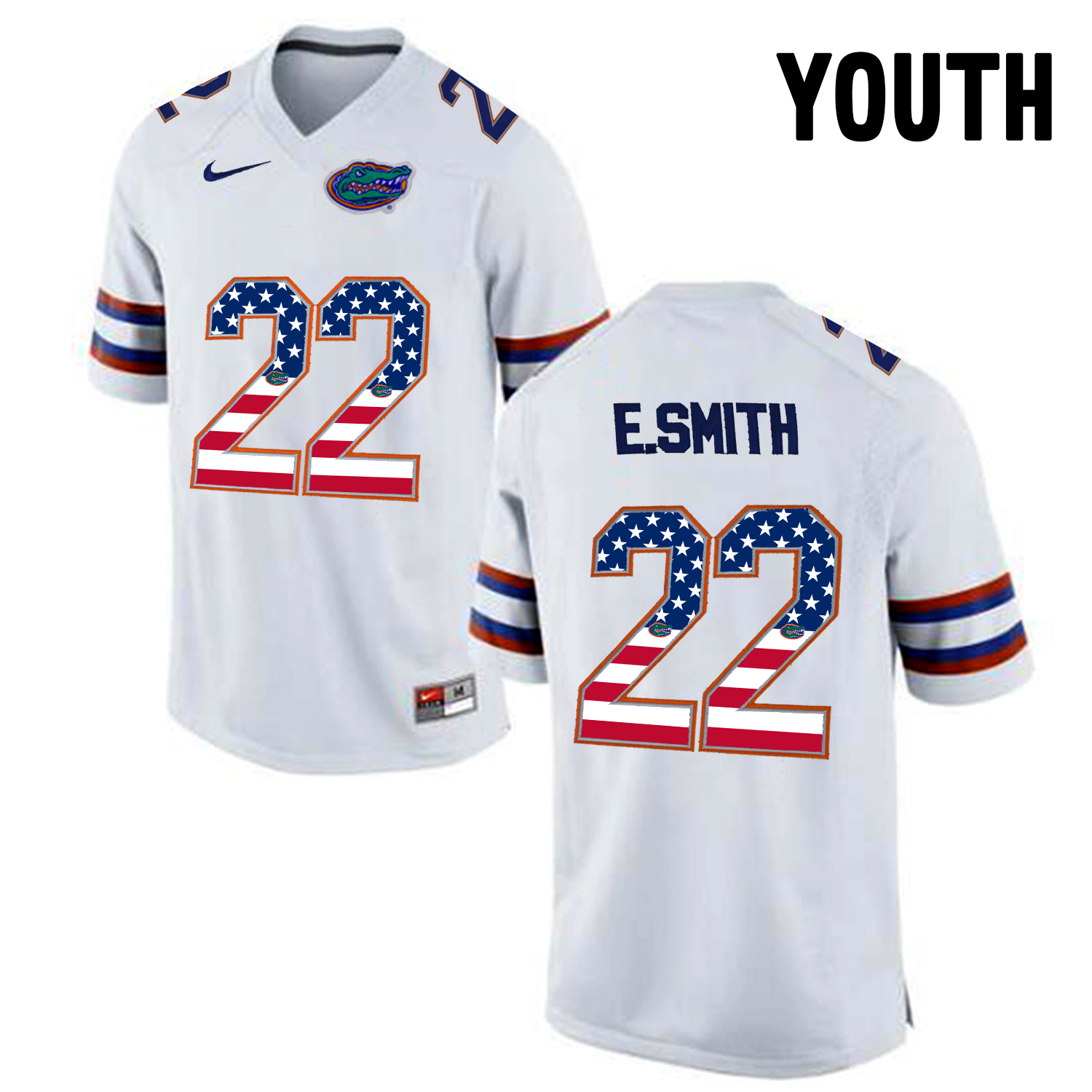 2016 US Flag Fashion Youth Florida Gators E.Smith 22 College Football Jersey White
