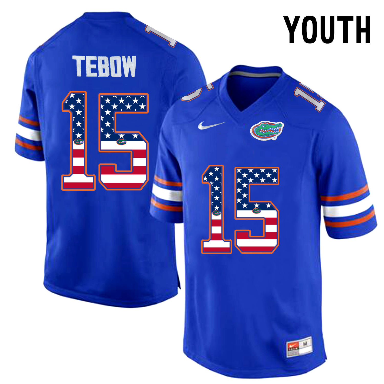 2016 US Flag Fashion Youth Florida Gators Tim Tebow 15 College Football Jersey Blue
