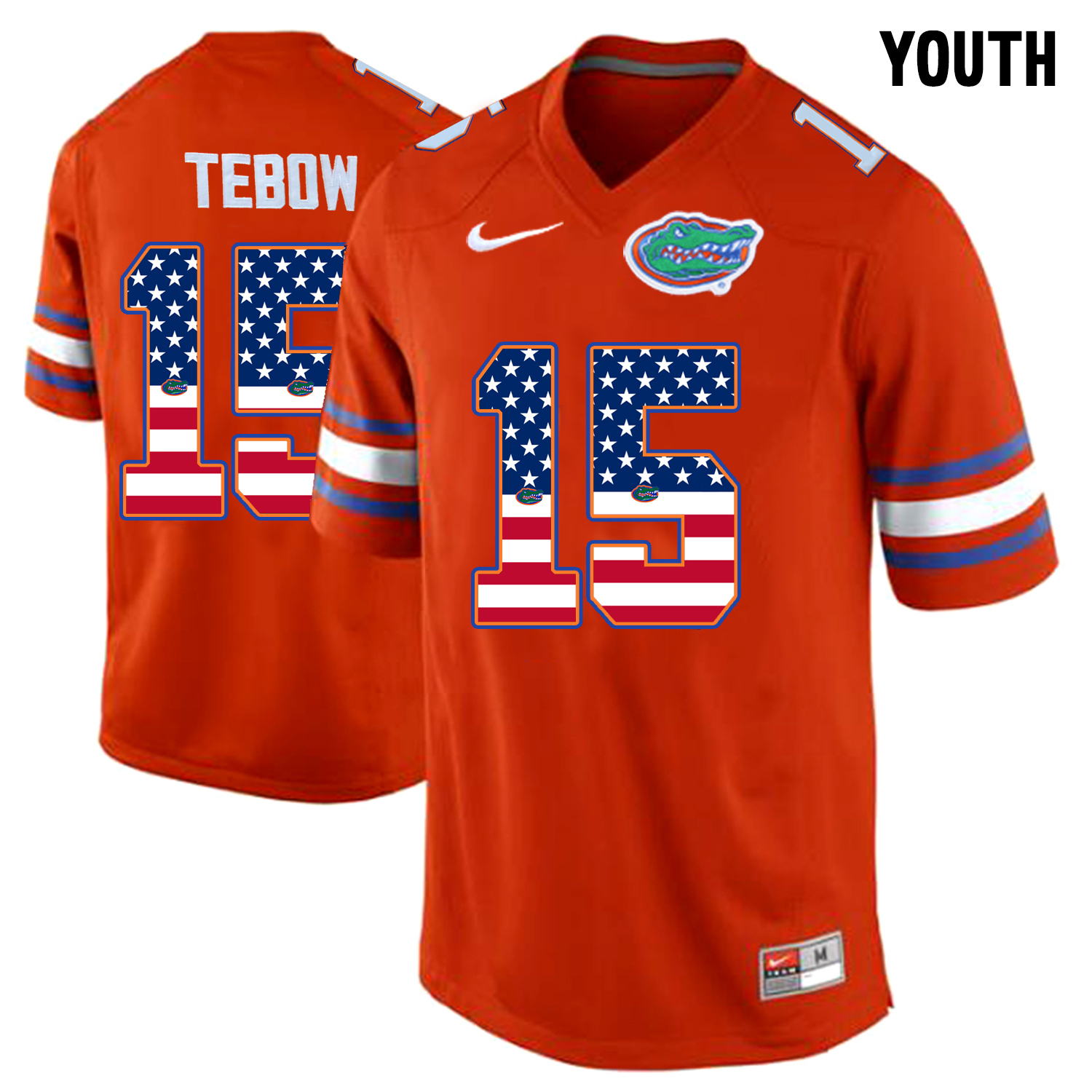 2016 US Flag Fashion Youth Florida Gators Tim Tebow 15 College Football Jersey Orange
