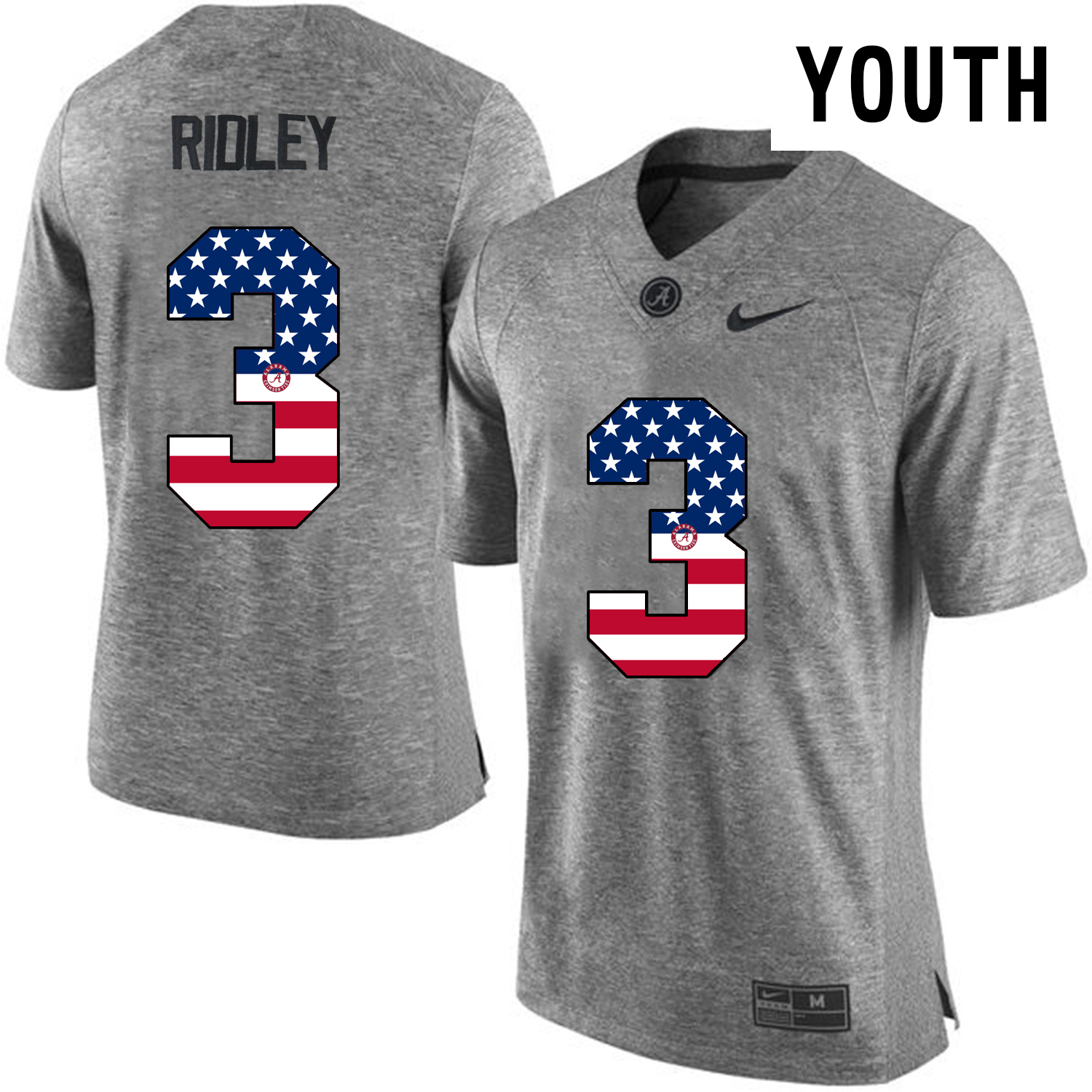 2016 US Flag Fashion Youth Heather Gray Alabama Crimson Tide Calvin Ridley 3 College Football Limited Jersey Gridiron Gray