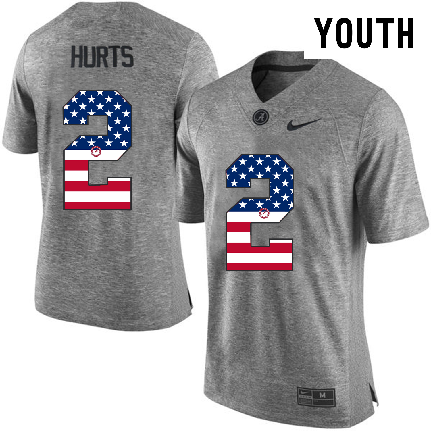 2016 US Flag Fashion Youth Heather Gray Alabama Crimson Tide Jalen Hurts 2 College Football Limited Jerseys Gridiron Gray