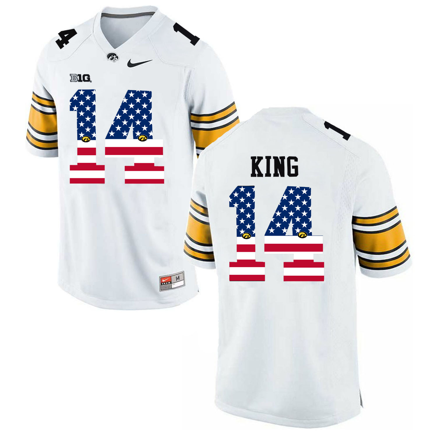 2016 US Flag FashionMen Iowa Hawkeyes Desmond King 14 College Football Limited Jersey White