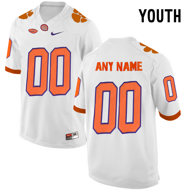 2016 Youth Clemson Tigers Customized College Football Limited Jersey White
