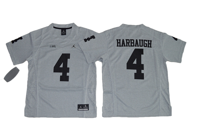 2016 Youth Heather Gray Michigan Wolverines 4 Jim Harbaugh College Football Limited Jerseys Gridiron Gray II