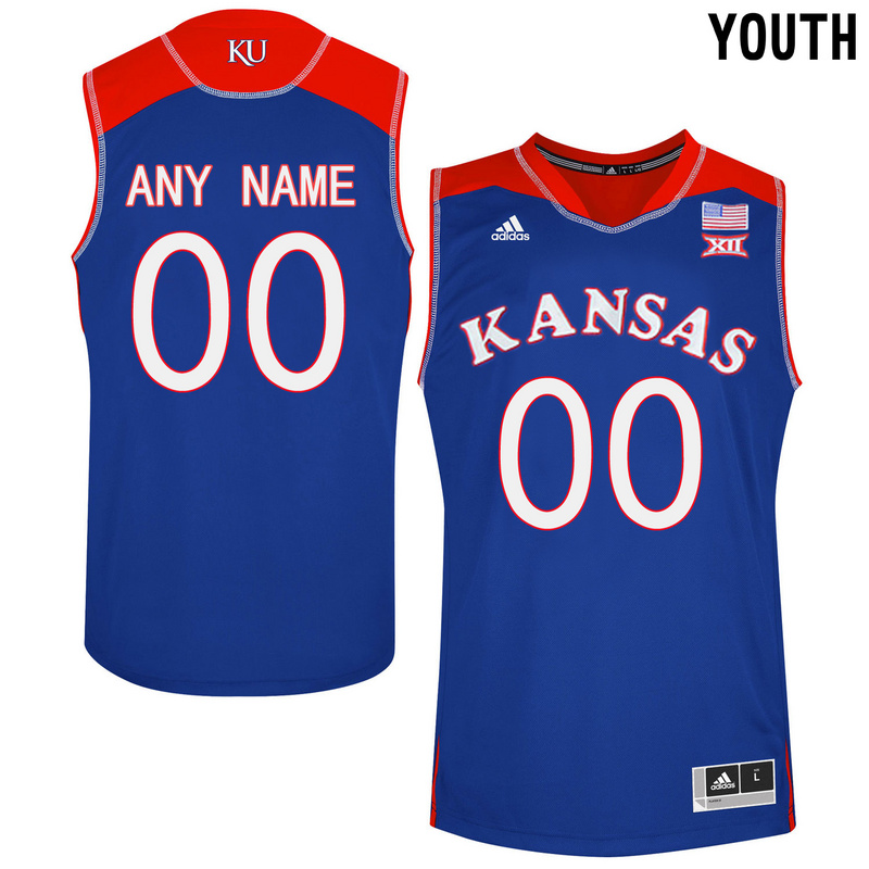2016 Youth Kansas Jayhawks Customized College Basketball Authentic Jersey Royal Blue